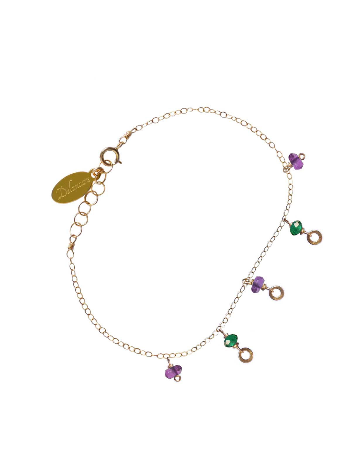 Bracelet 14K Gold-filled chain faceted Amethyst and Green Onyx