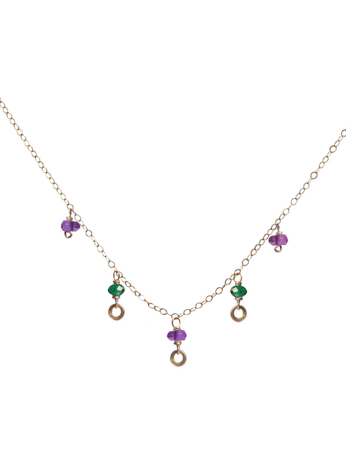 Necklace in 14K Gold-filled chain with Amethyst and Green Onyx
