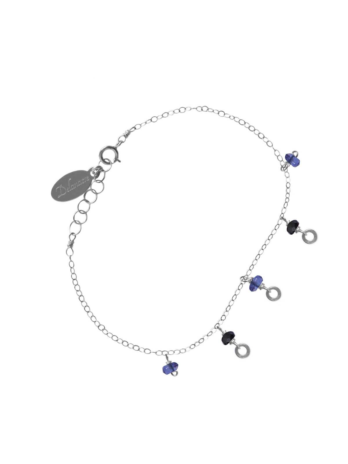 Bracelet in Sterling Silver chain Iolite Black Spinel