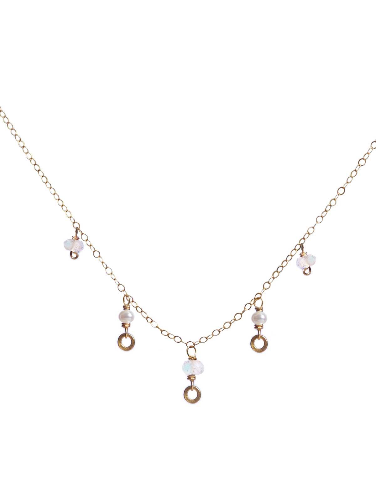 Collier chaîne en Or 14 Carats Gold-filled Perle blanche Pierres de Lune facettées
