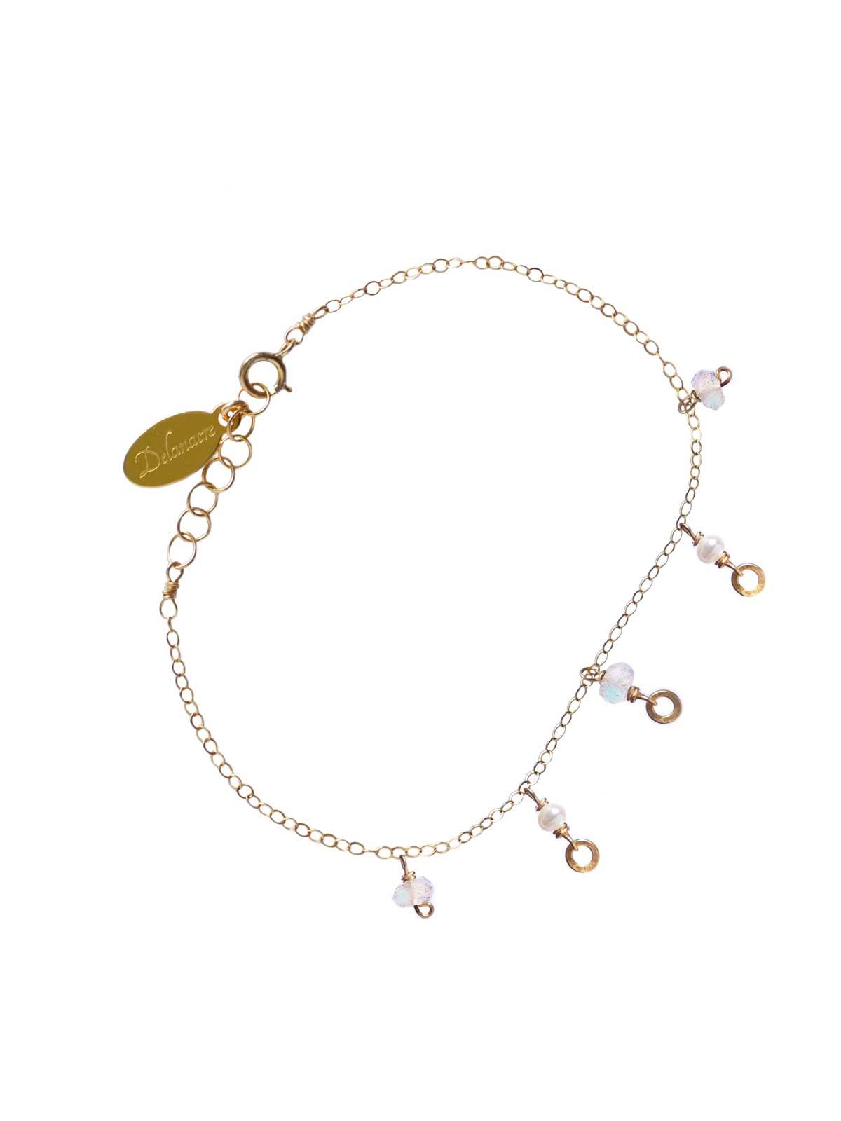 Bracelet 14K Gold-filled chain white Freshwater Pearls faceted Moonstone