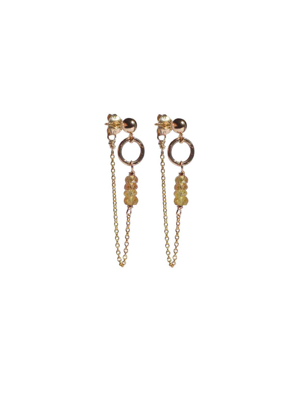 Earrings Gold-filled 14 Karat and Yellow Sapphire