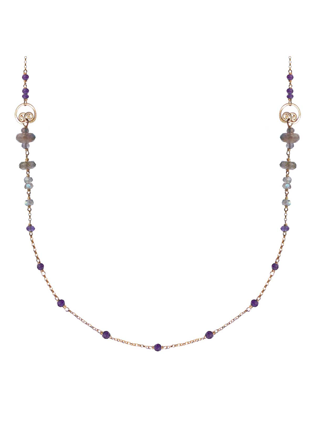 Buddha Necklace gold Labradorite Amethyst