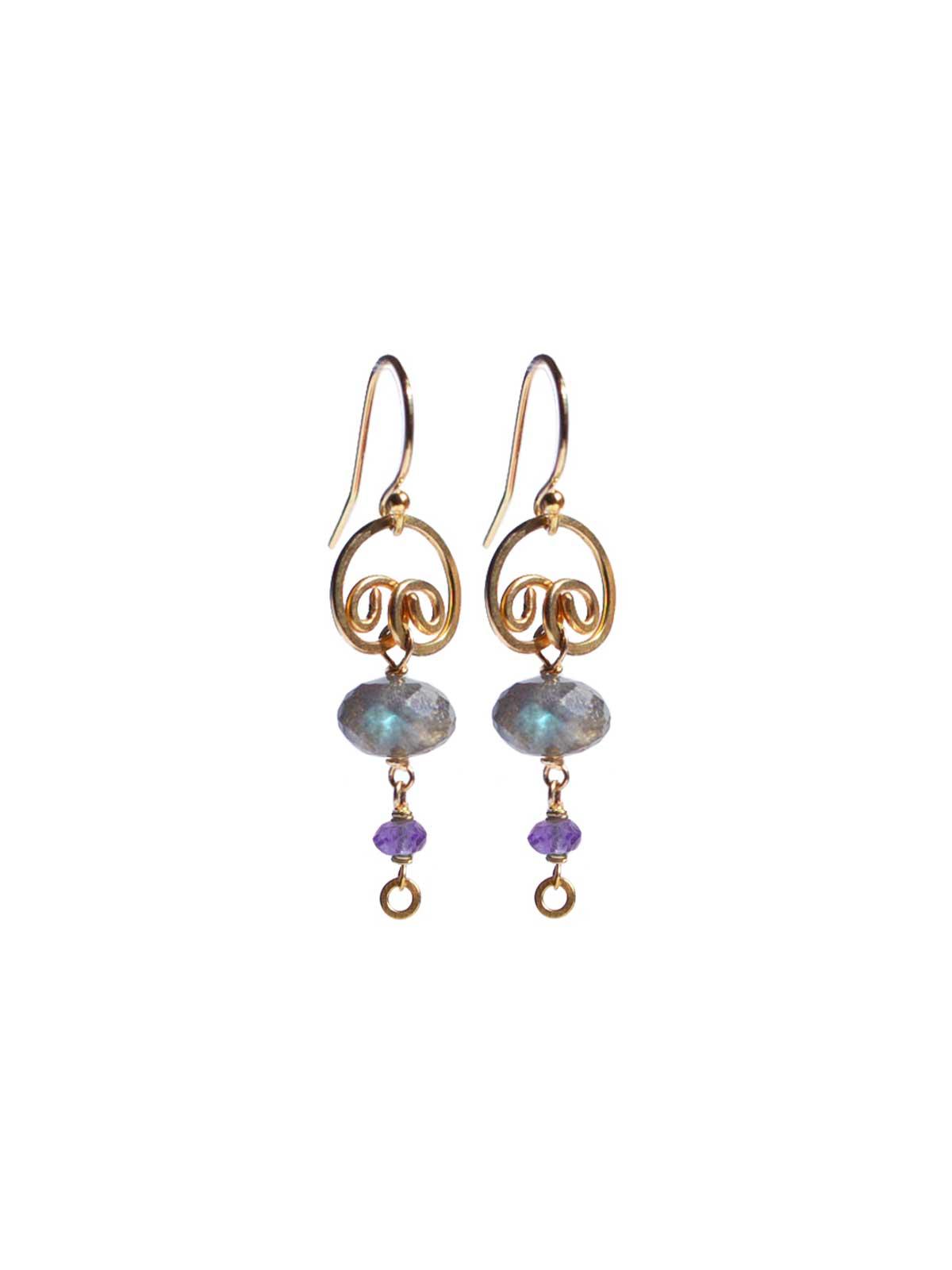 Labradorite Amethyst earrings 14K Gold-filled