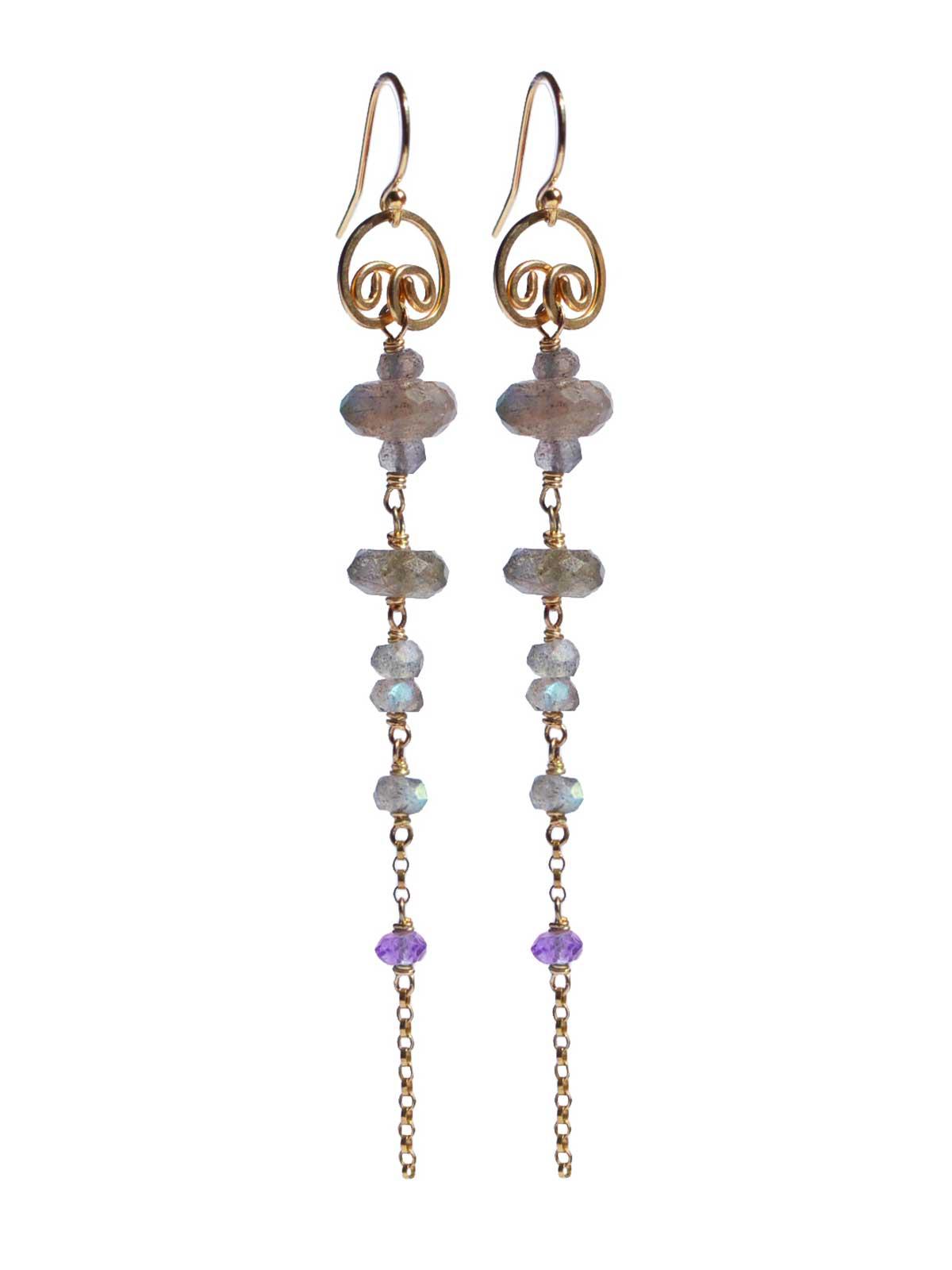 Labradorite Amethyst long earrings 14K Gold-filled