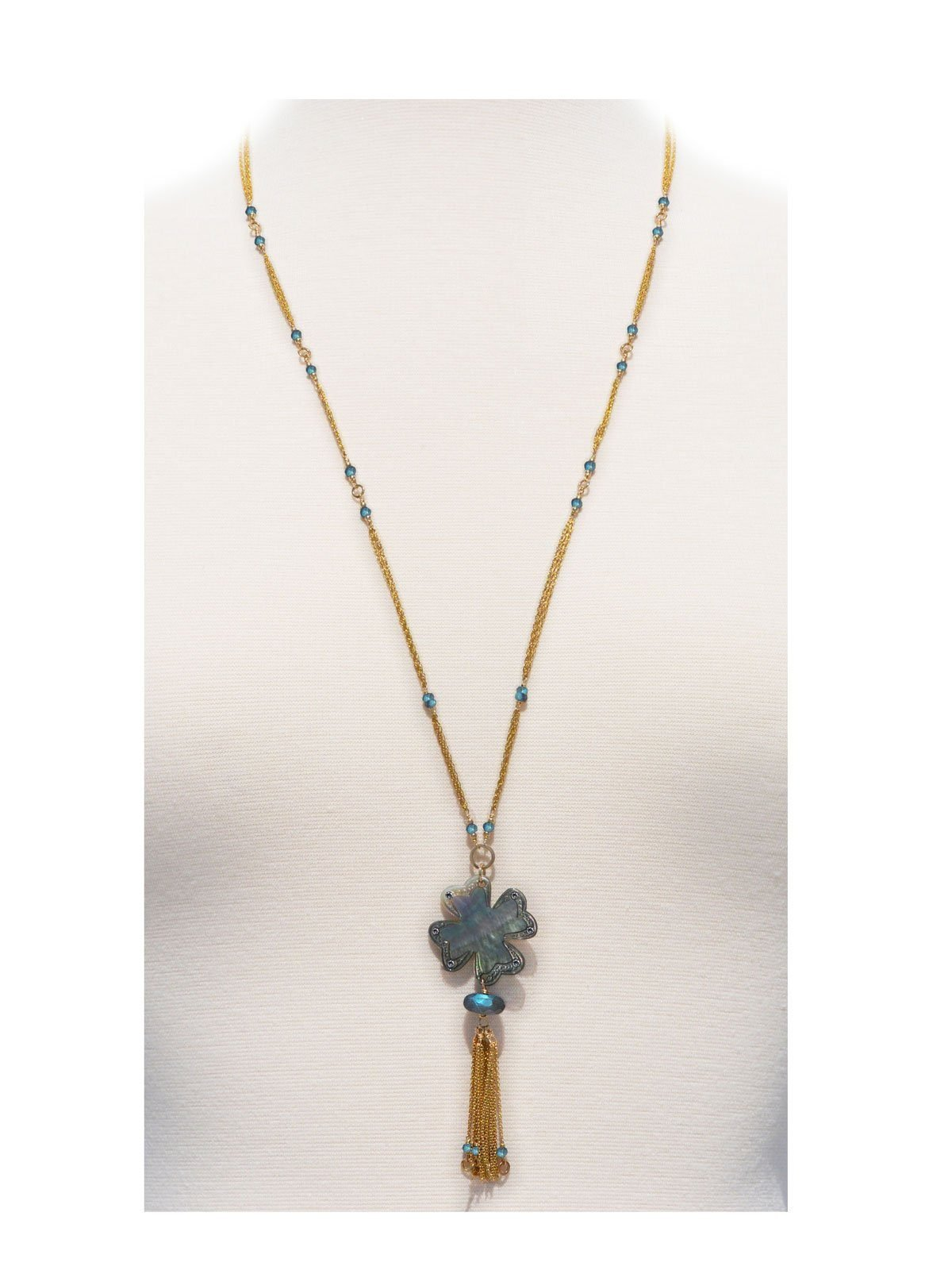 Blue Romance Long Necklace Gold Mother-of-Pearl Labradorite