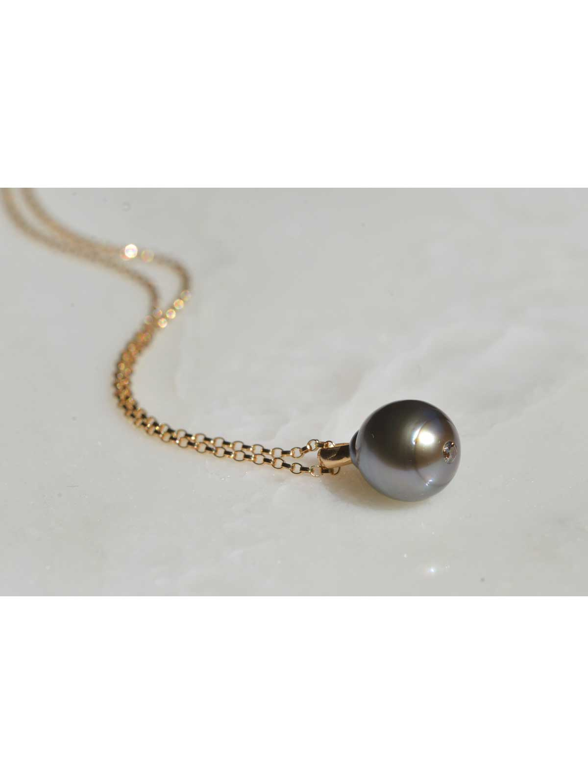 boudoir pendant tahitian Pearl Diamond 14K yellow gold