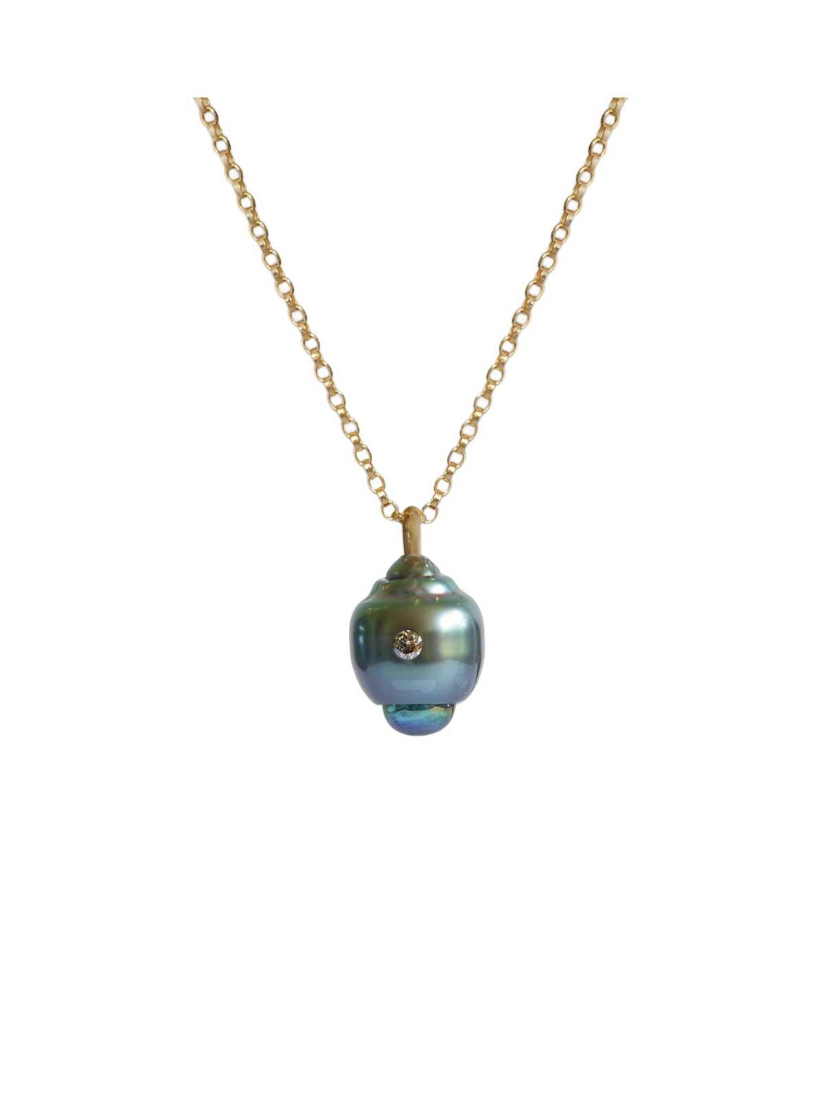 boudoir pendentif perle de tahiti topaze Diamant or jaune 14 carats