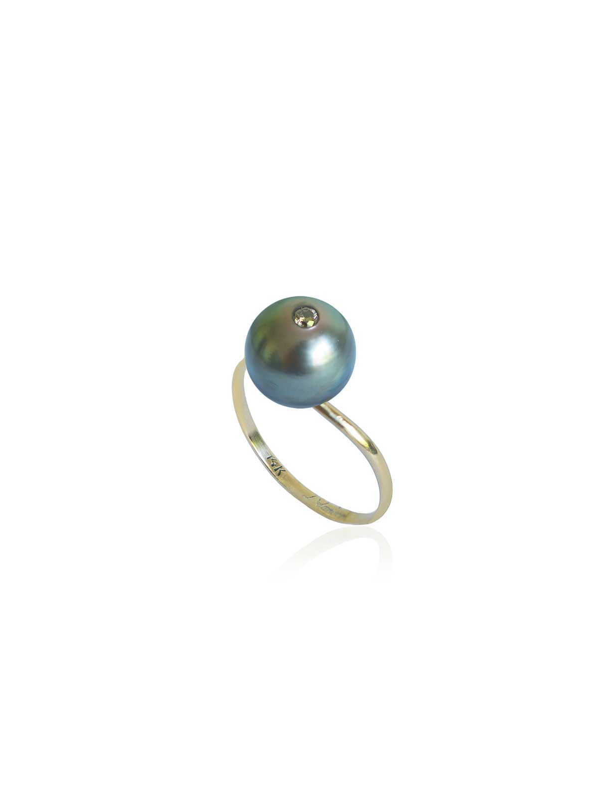 Boudoir ring Tahitian Pearl Brown Diamond 14K yellow gold