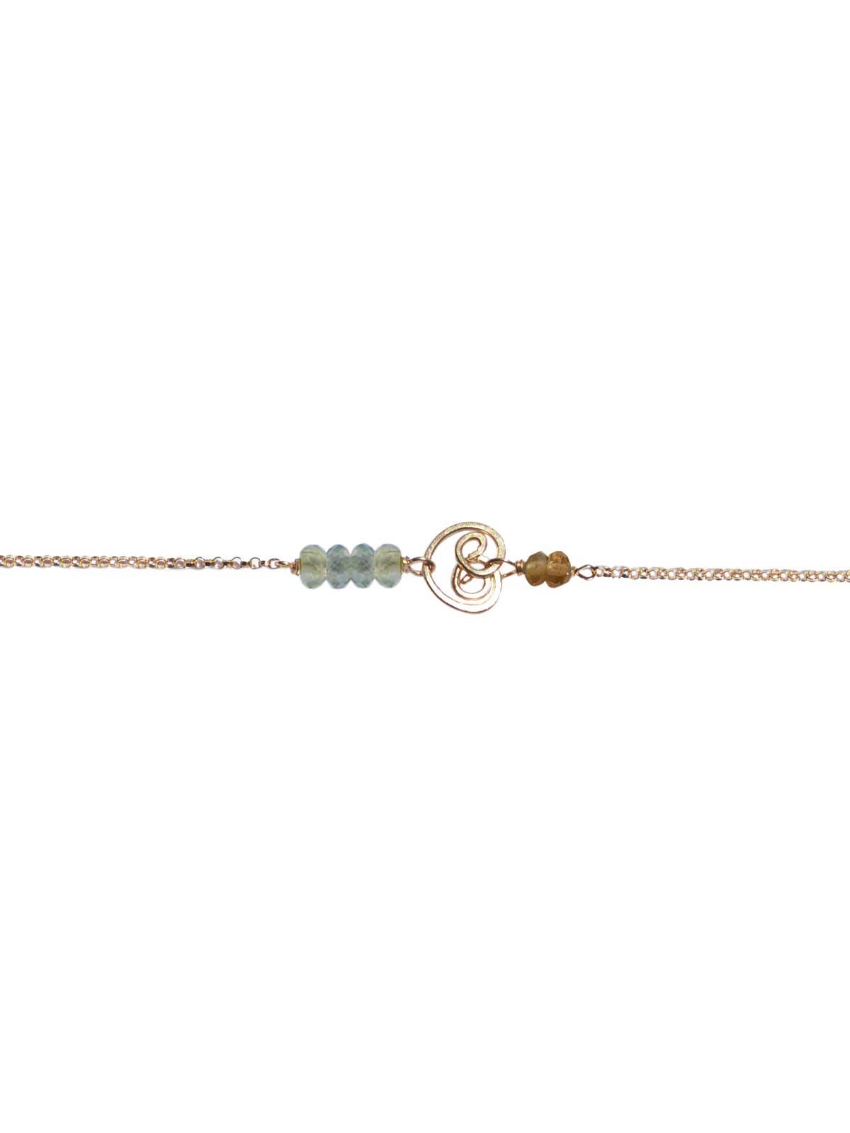 Bracelet Gold Prehnite Tourmaline