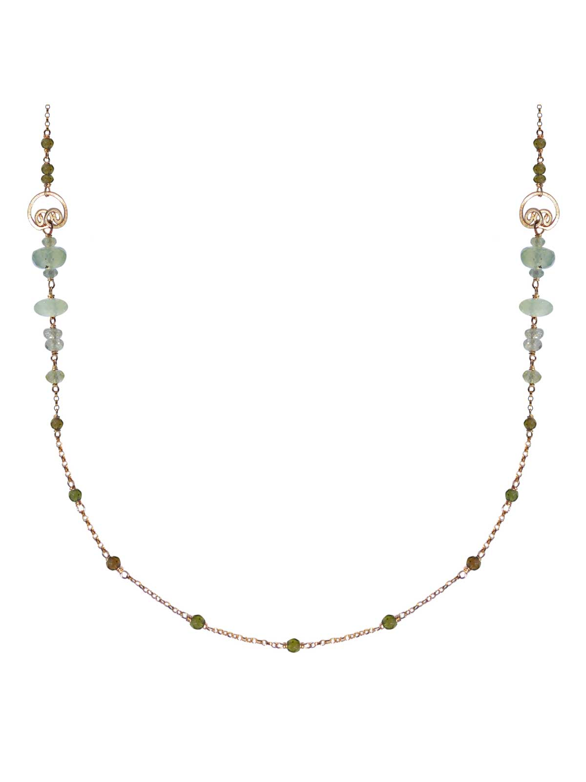 Necklace in 14K Gold-filled chain faceted Prehnite Tourmaline