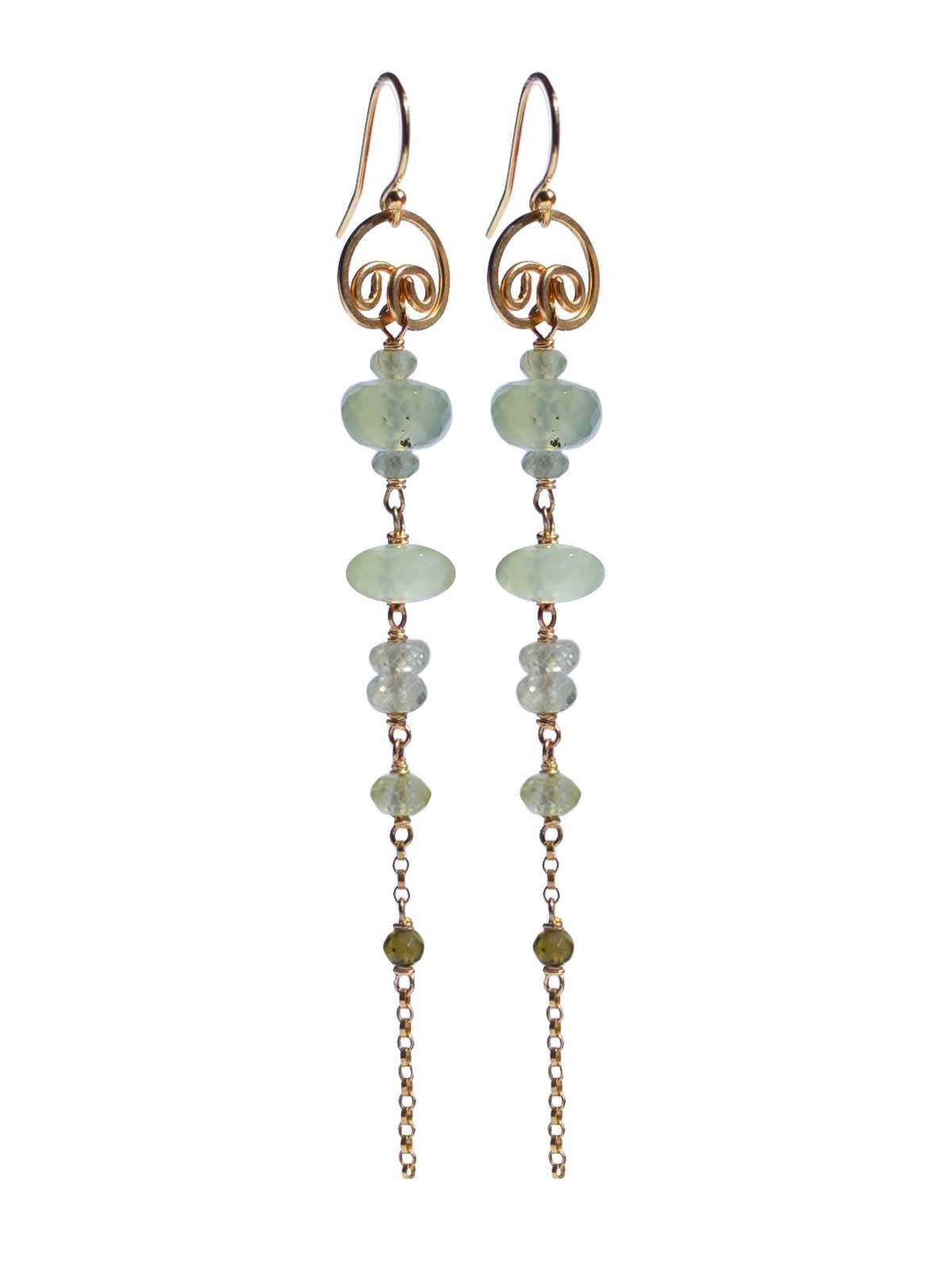 Earrings in 14K Gold-filled Prehnite Tourmaline