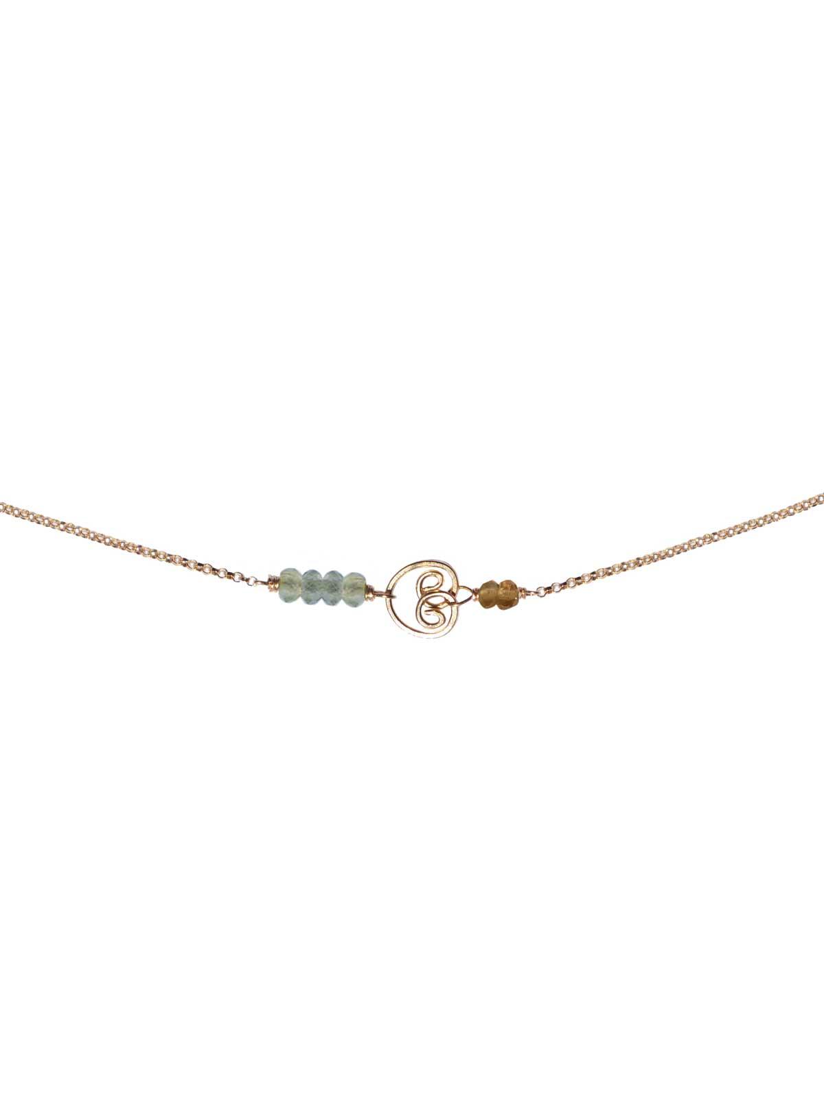 Necklace 14K Gold-filled chain semi-precious stones : faceted Prehnite Tourmaline