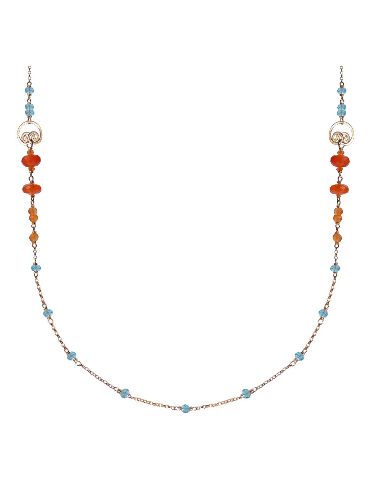 corail Necklace gold Carnelian Apatite
