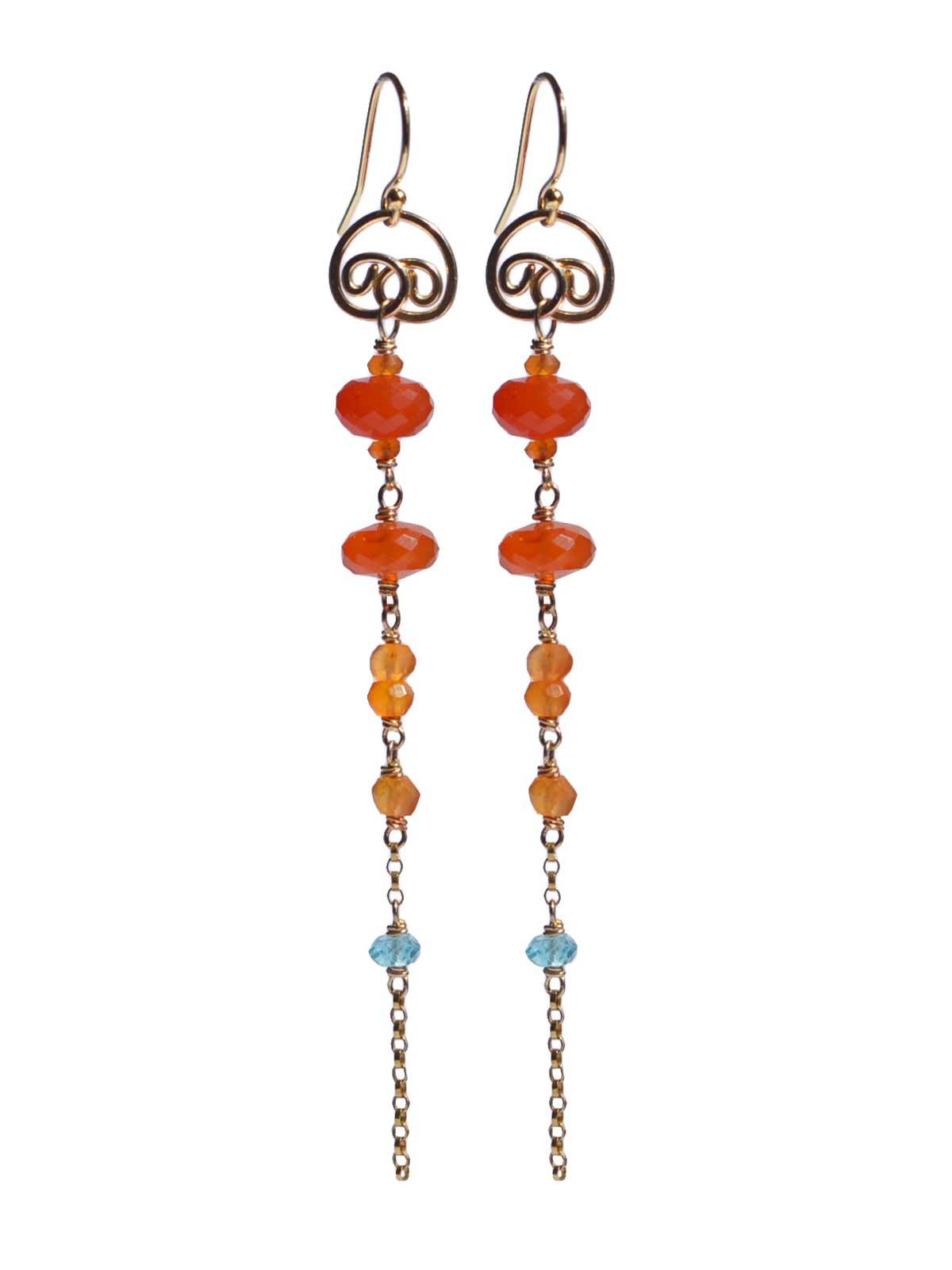 Carnelian Apatite long earrings 14K Gold-filled