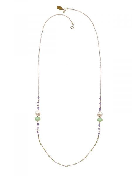 Cocktail Long Necklace Gold Prehnite Amethyst