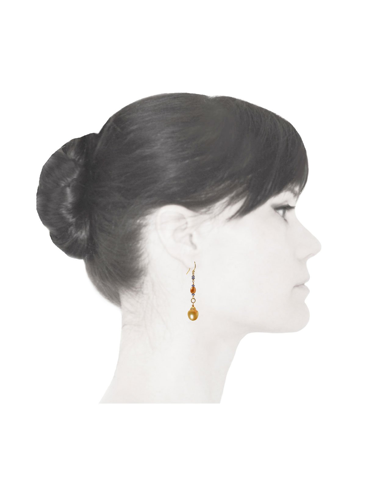 Delanacre, South Sea Pearl DIVINE EARRINGS 14K Yellow Gold