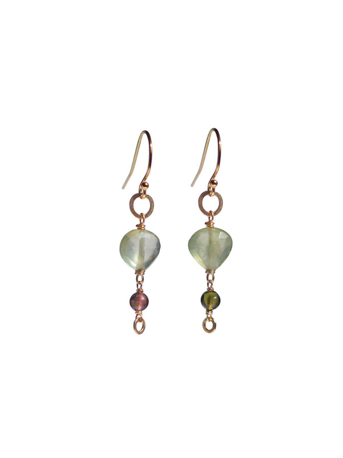 earrings 14K Gold-filled Faceted Prehnite Tourmaline