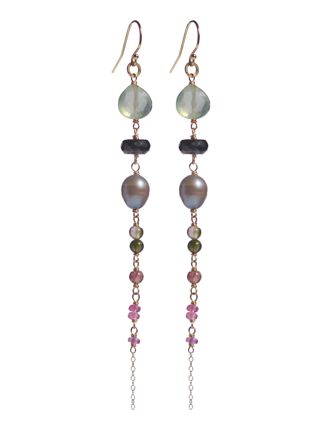 Long earrings 14K Gold-filled Faceted Prehnite Tourmaline Black Spinel gray Freswater.Pearl