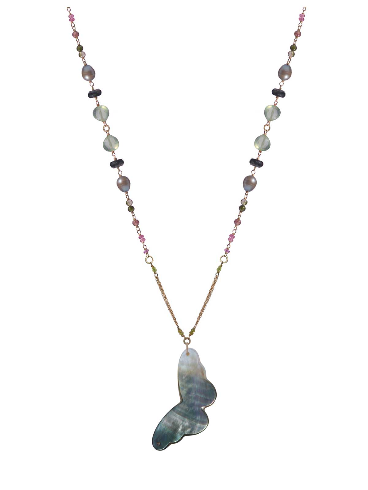 Long Necklace in 14K Gold-filled Prehnite Tourmaline Black Spinel gray Freshwater Pearl