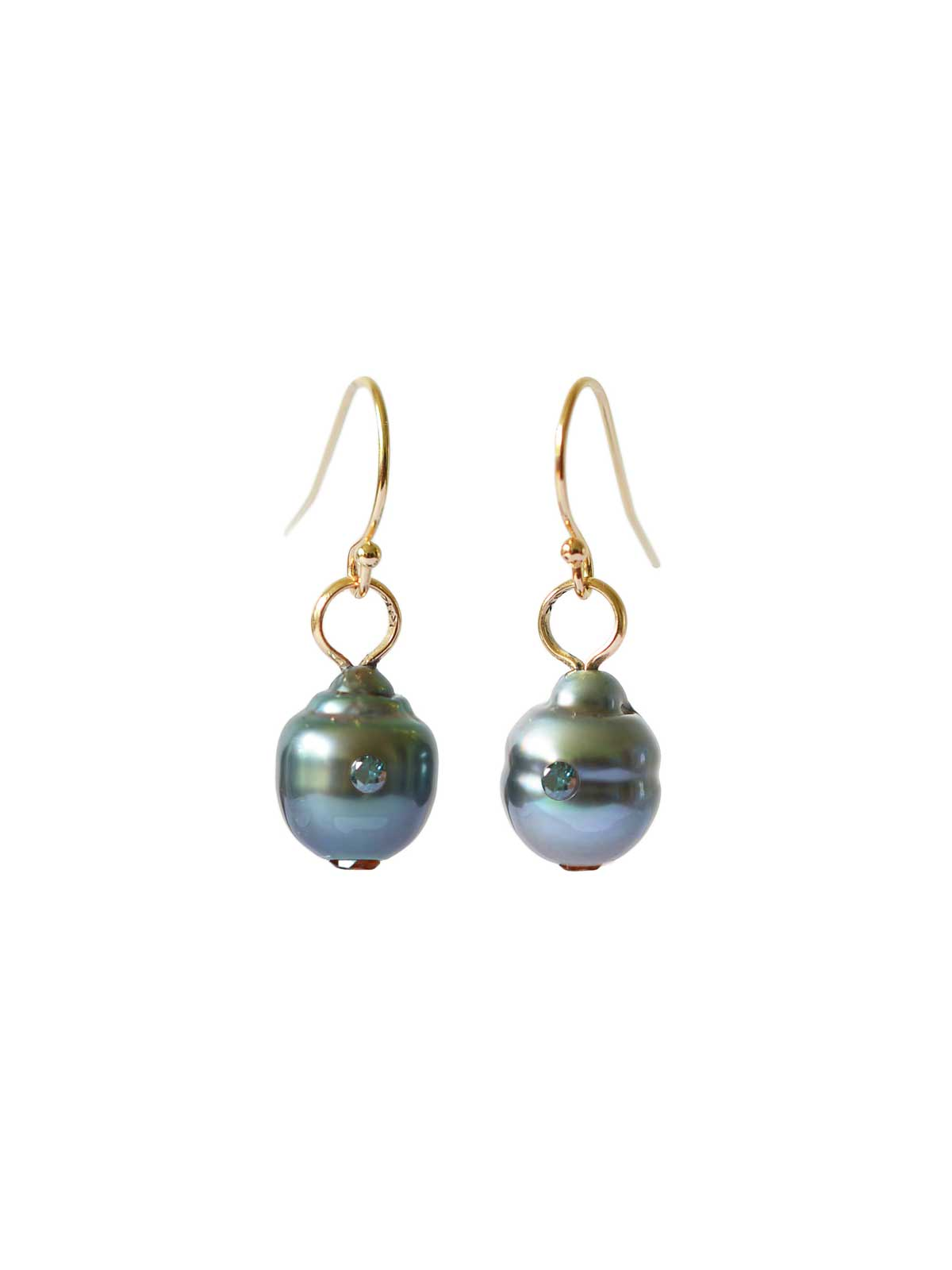 electric blue Earrings Tahitian Pearl citrine blue diamond