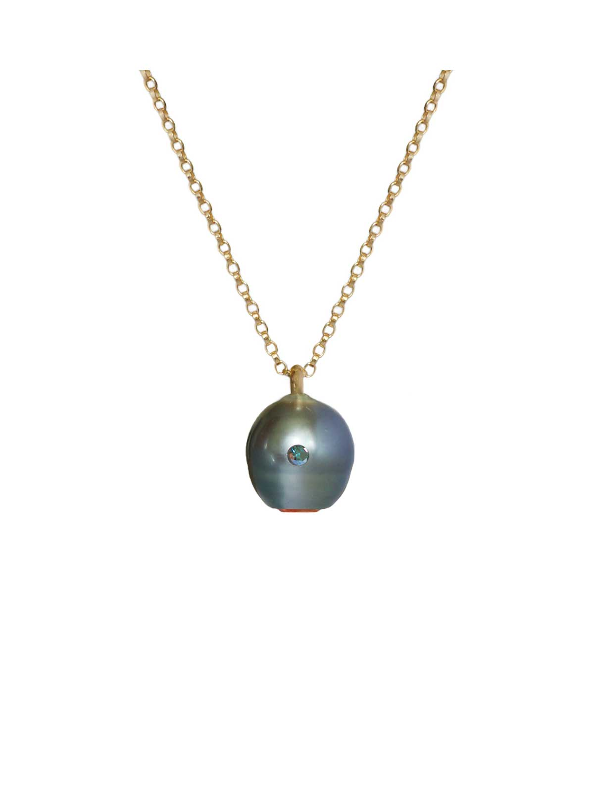 Electric Blue Pendant tahitian Pearl Citrine Diamond 14K yellow gold