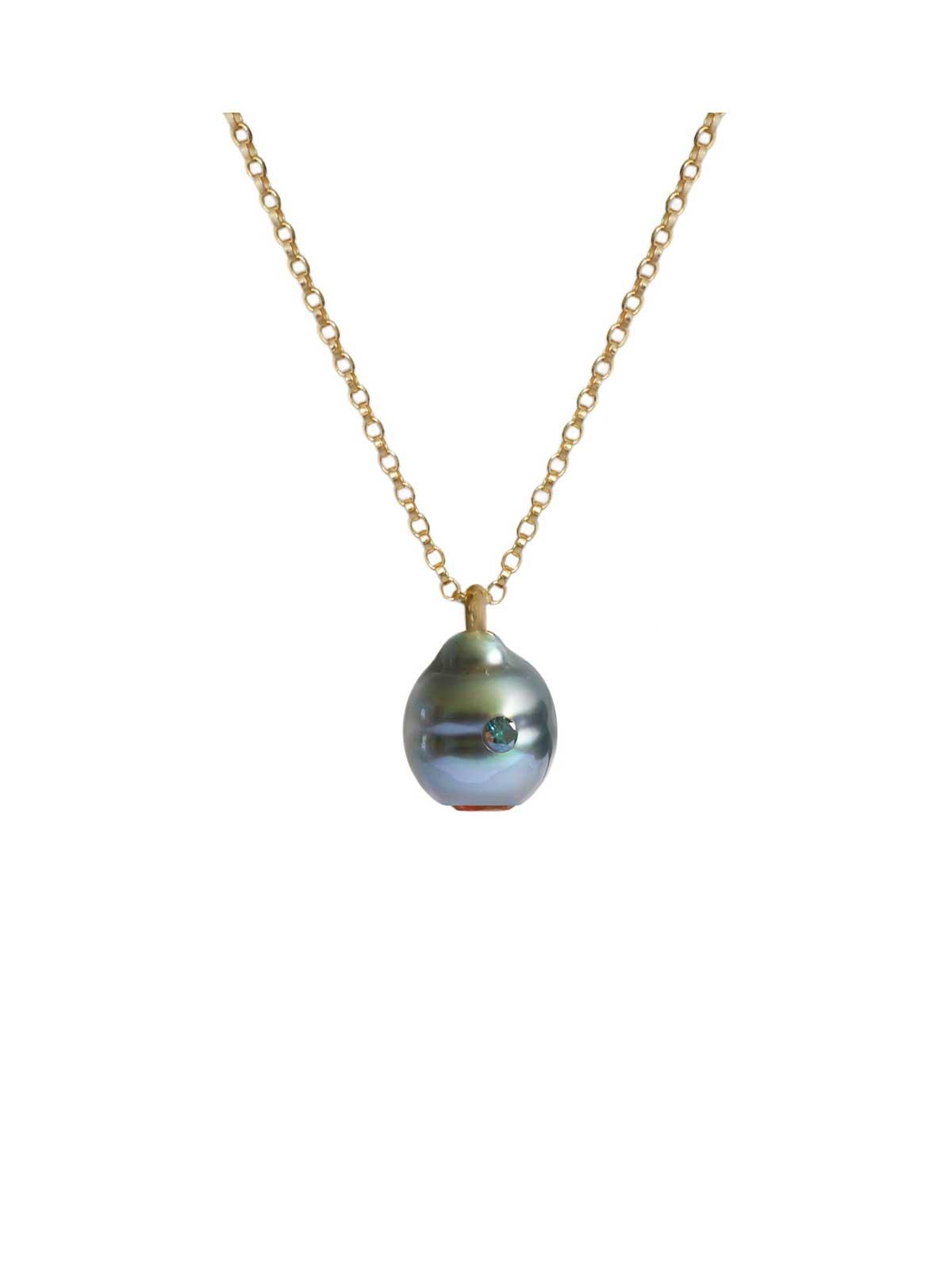 Electric Blue pendentif perle de tahiti Citrine Diamant or jaune 14 carats