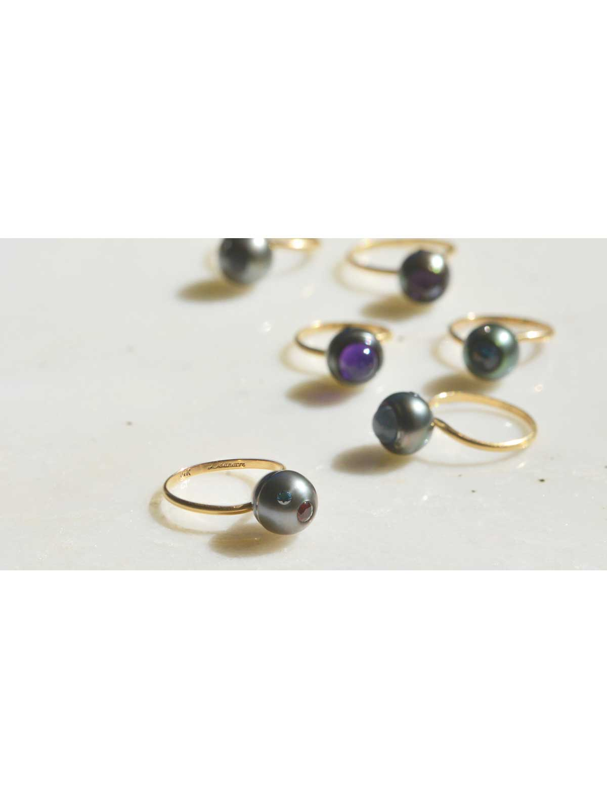 electric blue ring Tahitian Pearl Blue Diamond Citrine 14K yellow gold