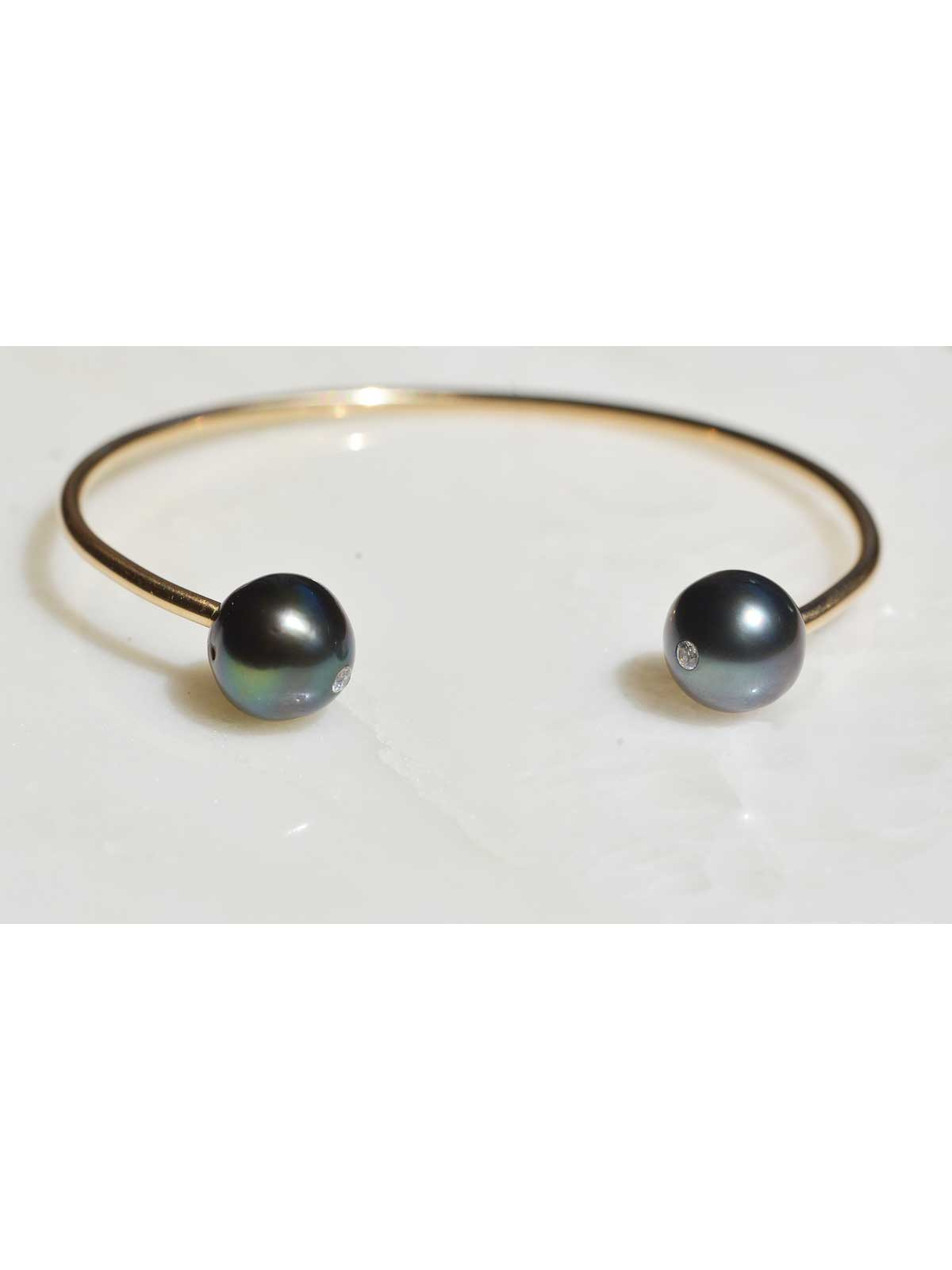 ETERNITY Cuff Bracelet Tahitian Pearl Diamond 14K yellow gold