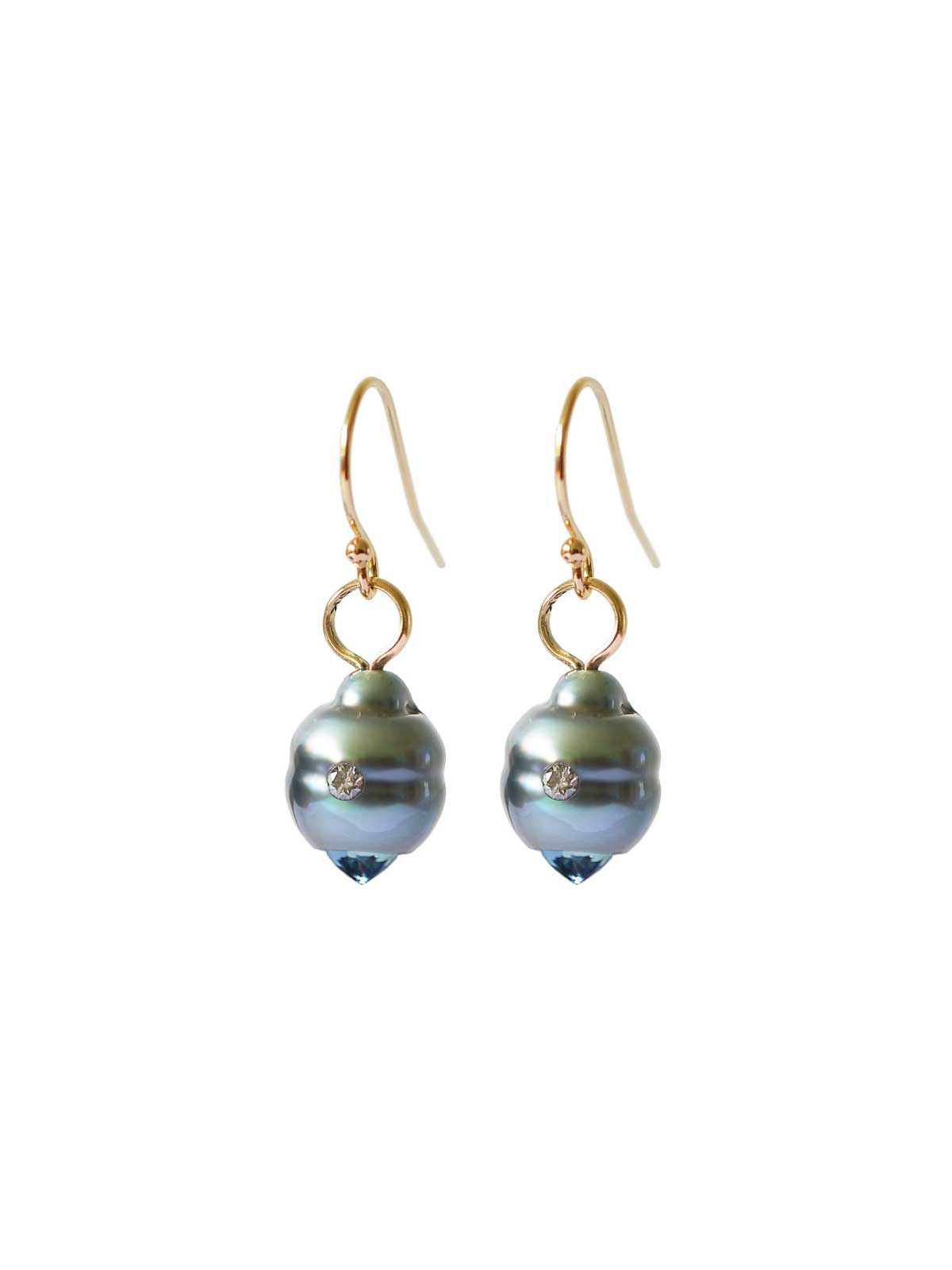 Eternity earrings Tahitian Pearl Aquamarine diamond