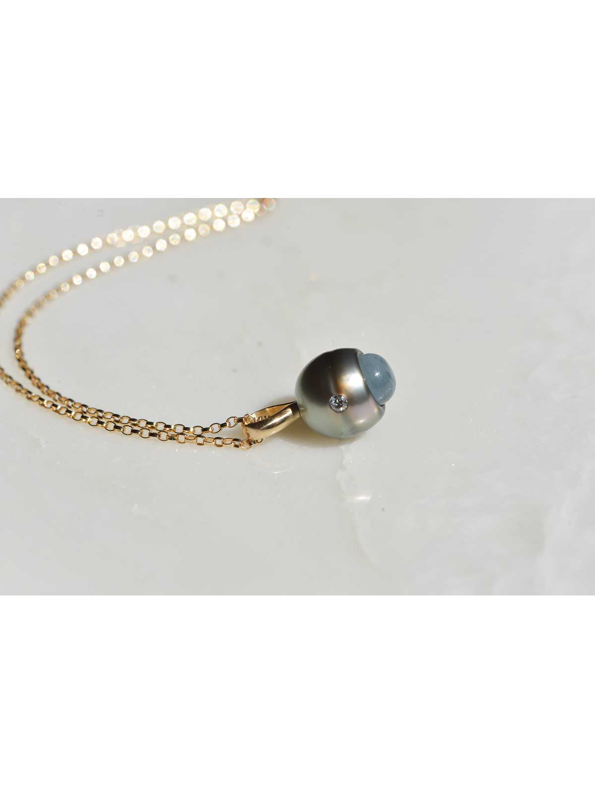 ETERNITY Pendant tahitian Pearl Aquamarine Diamond 14K yellow gold