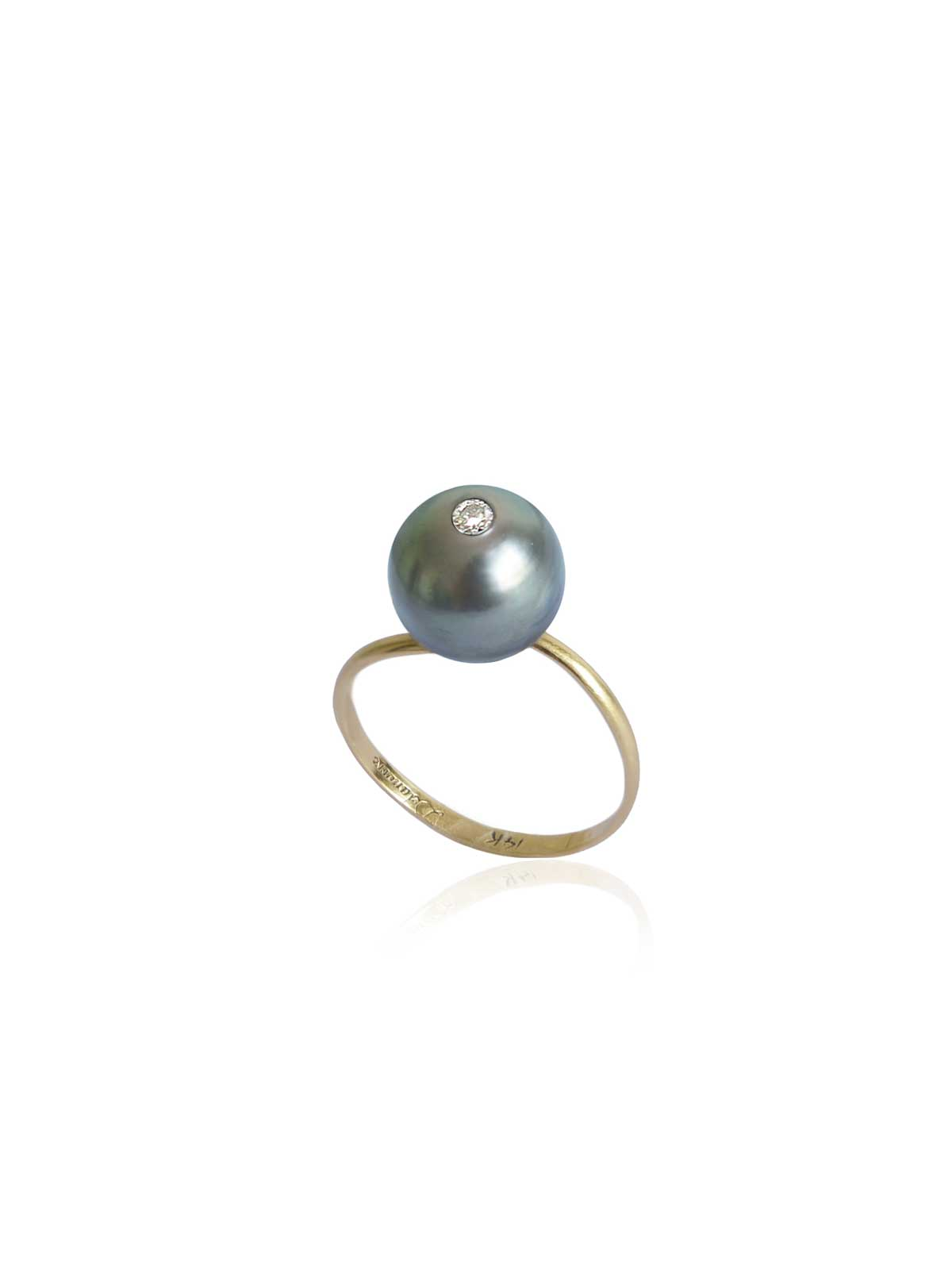 ETERNITY RING Tahitian Baroque Pearl, White Diamond 14K yellow gold