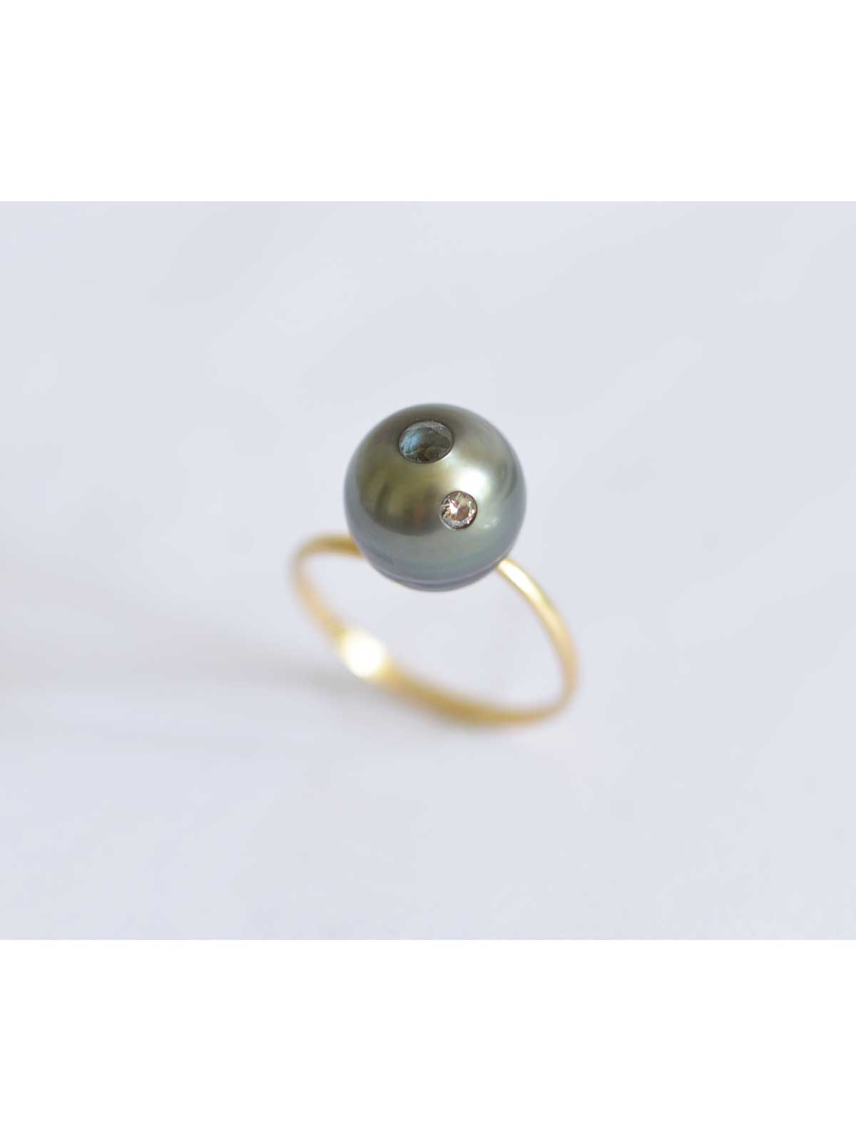 Eternity ring Tahitian Pearl Diamond Aquamarine 14K yellow gold
