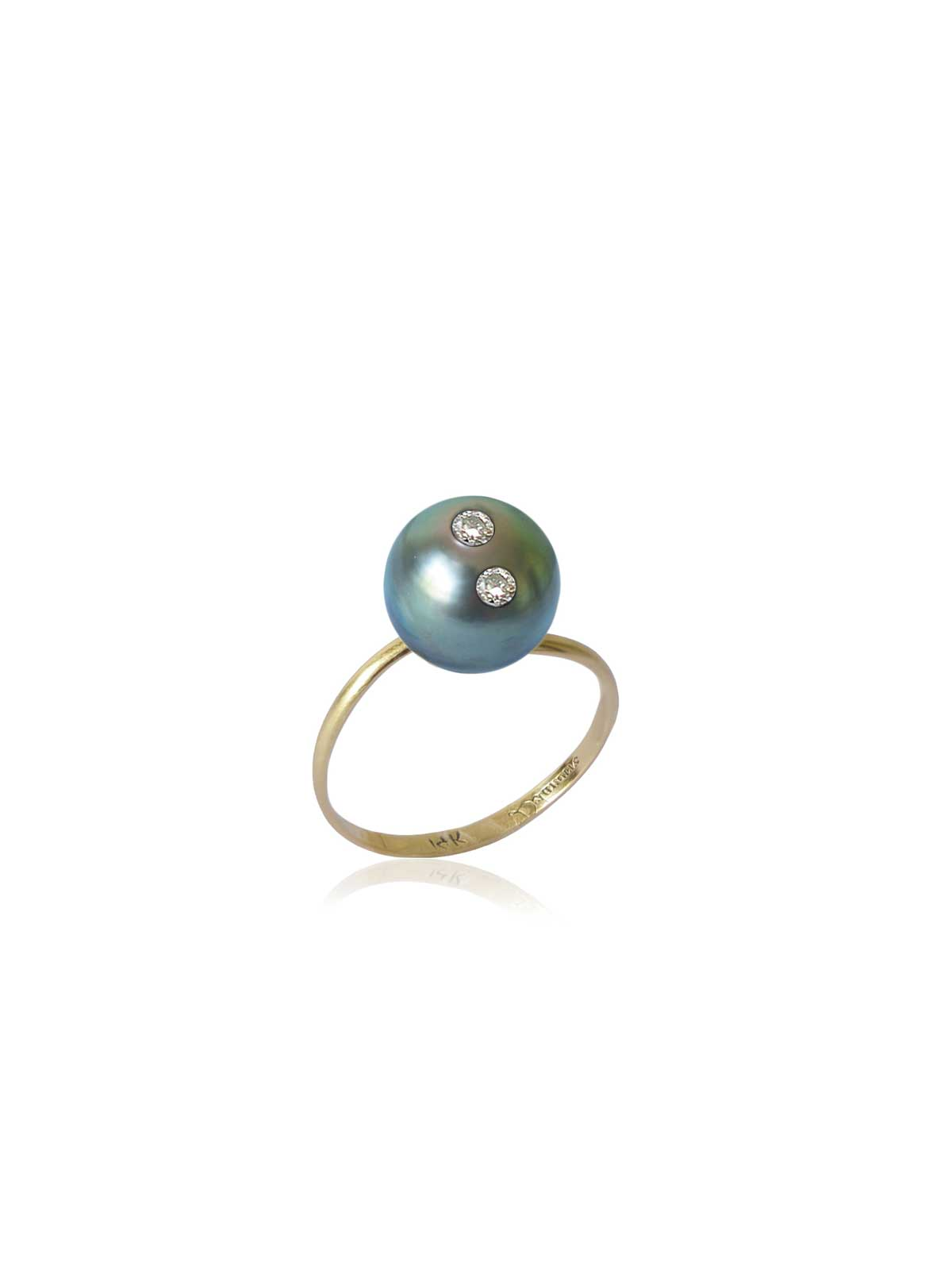 Eternity ring Tahitian Pearl Diamond 14K yellow gold