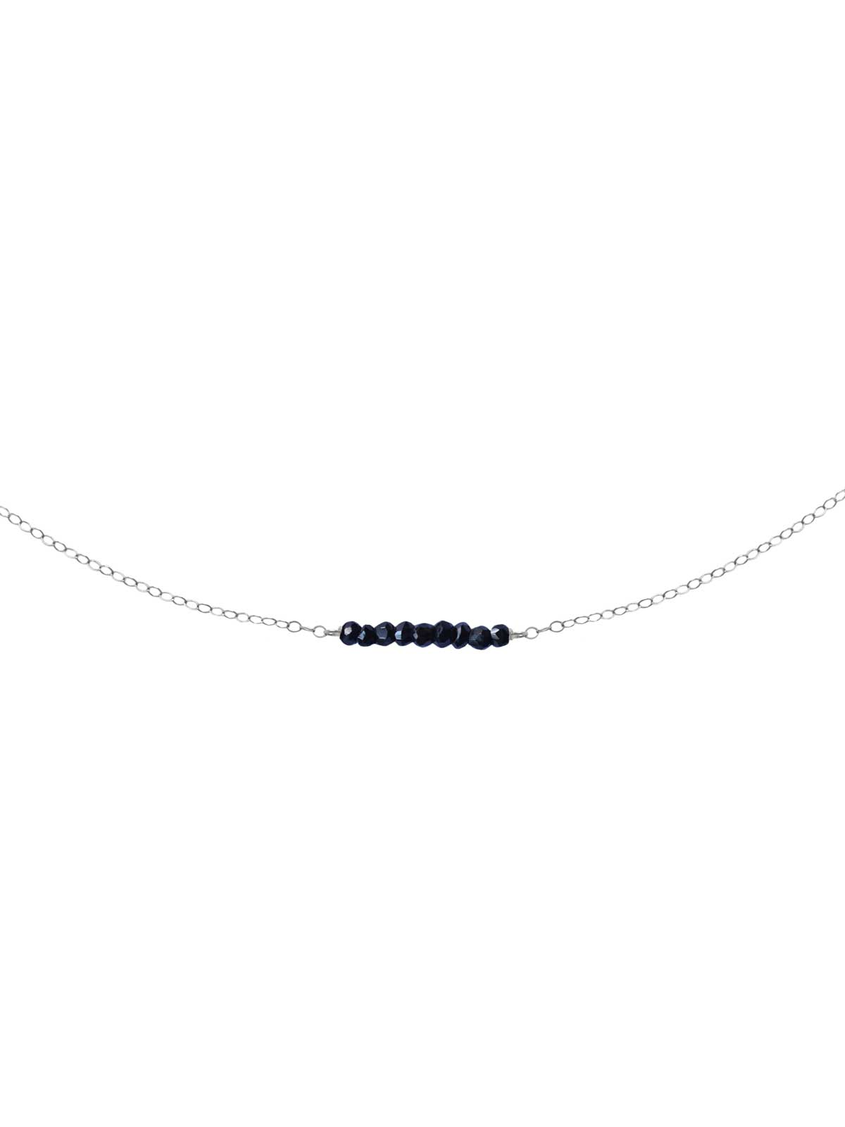 Necklace Sterling Silver chain faceted Black Spinel