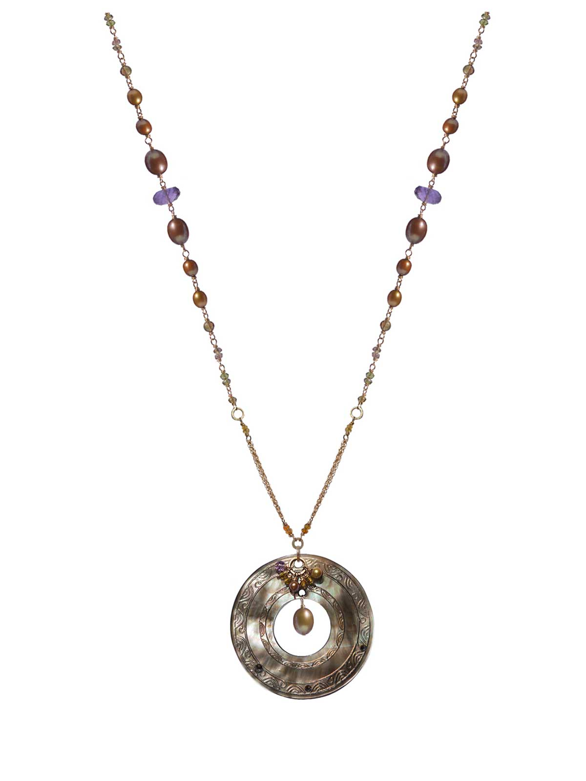 Long Necklace in 14K Gold-filled Amethyst Tourmaline Freshwater Pearls