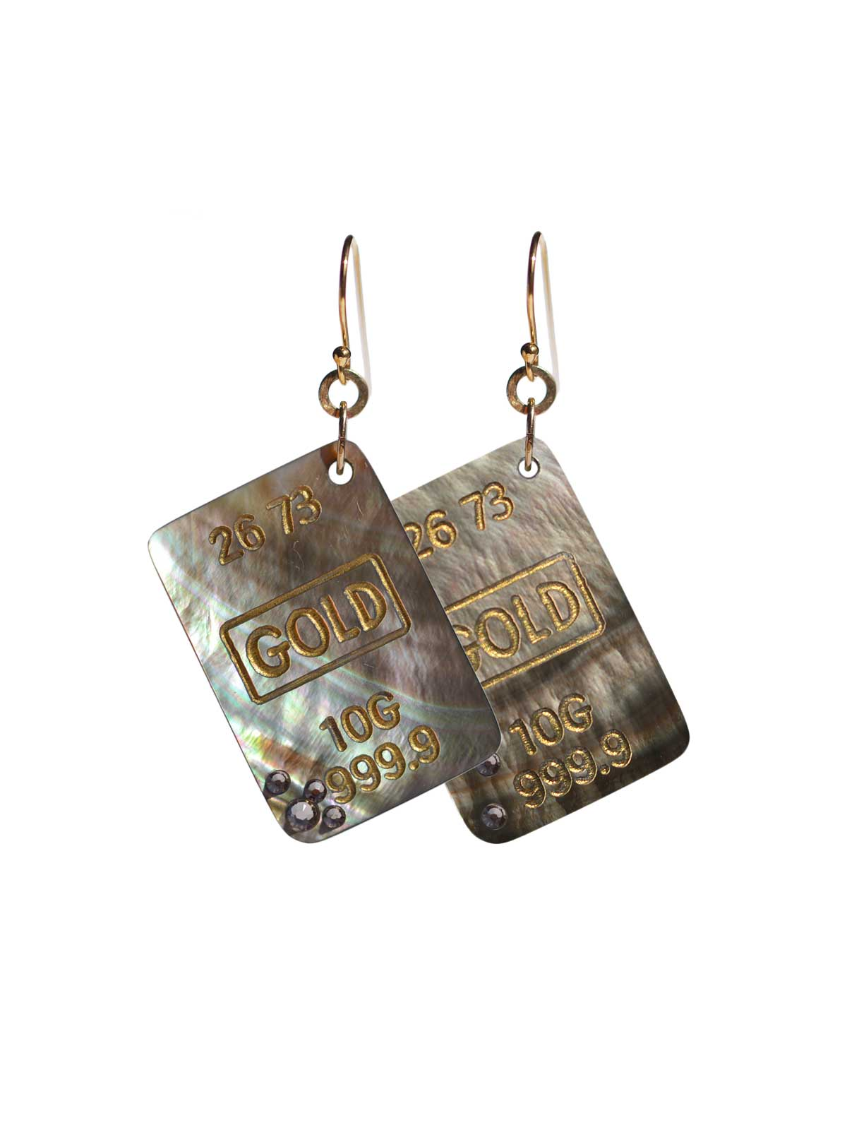 Earrings Gold-filled 14 Karat Mother-of-pearl of Tahiti Swarovski crystal