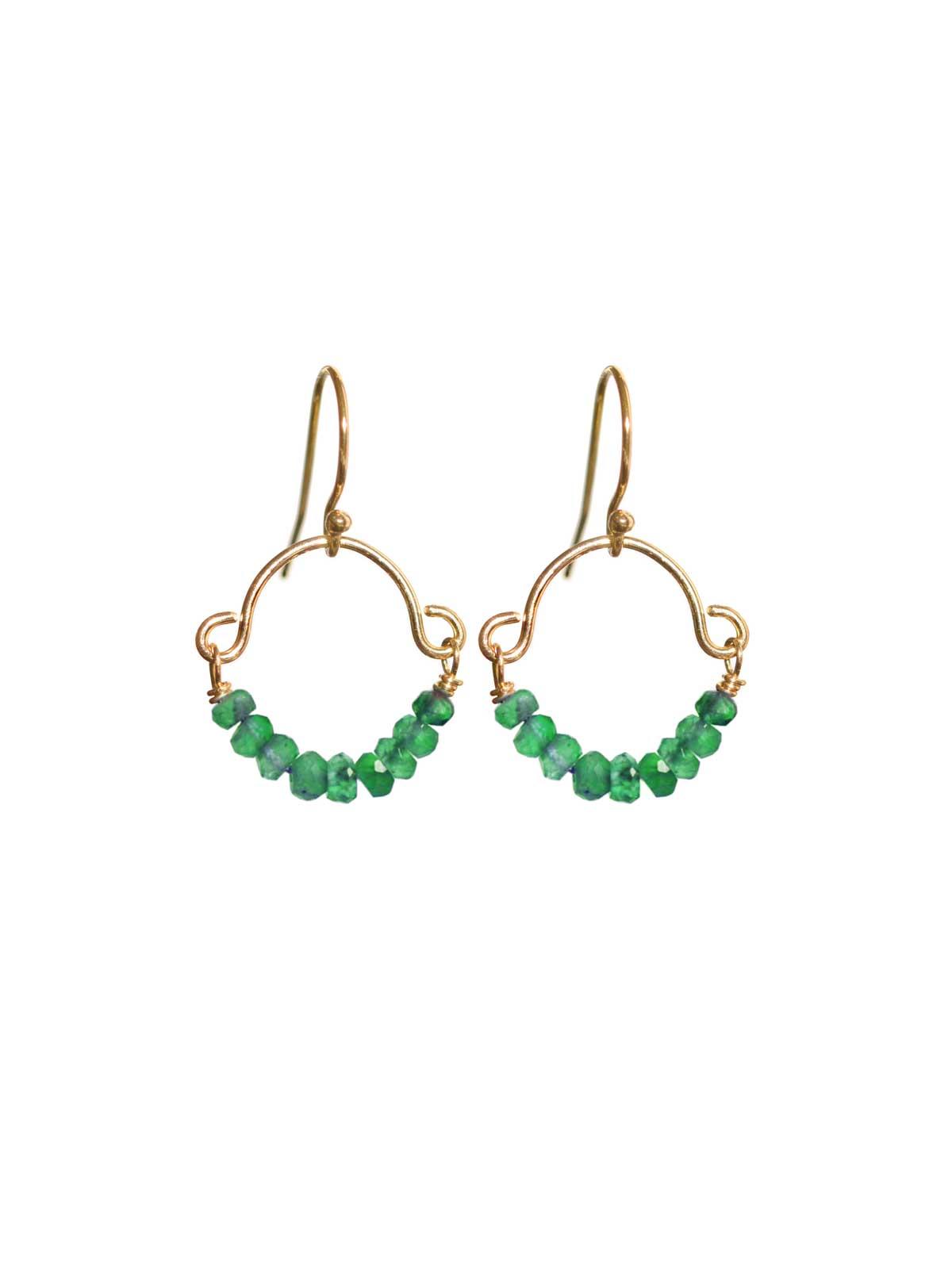 14K Gold-filled earrings Green Onyx