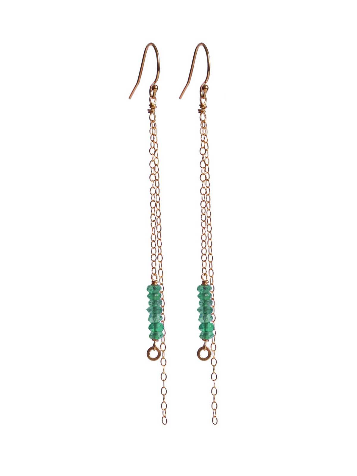 14K Gold-filled Long earrings Green Onyx