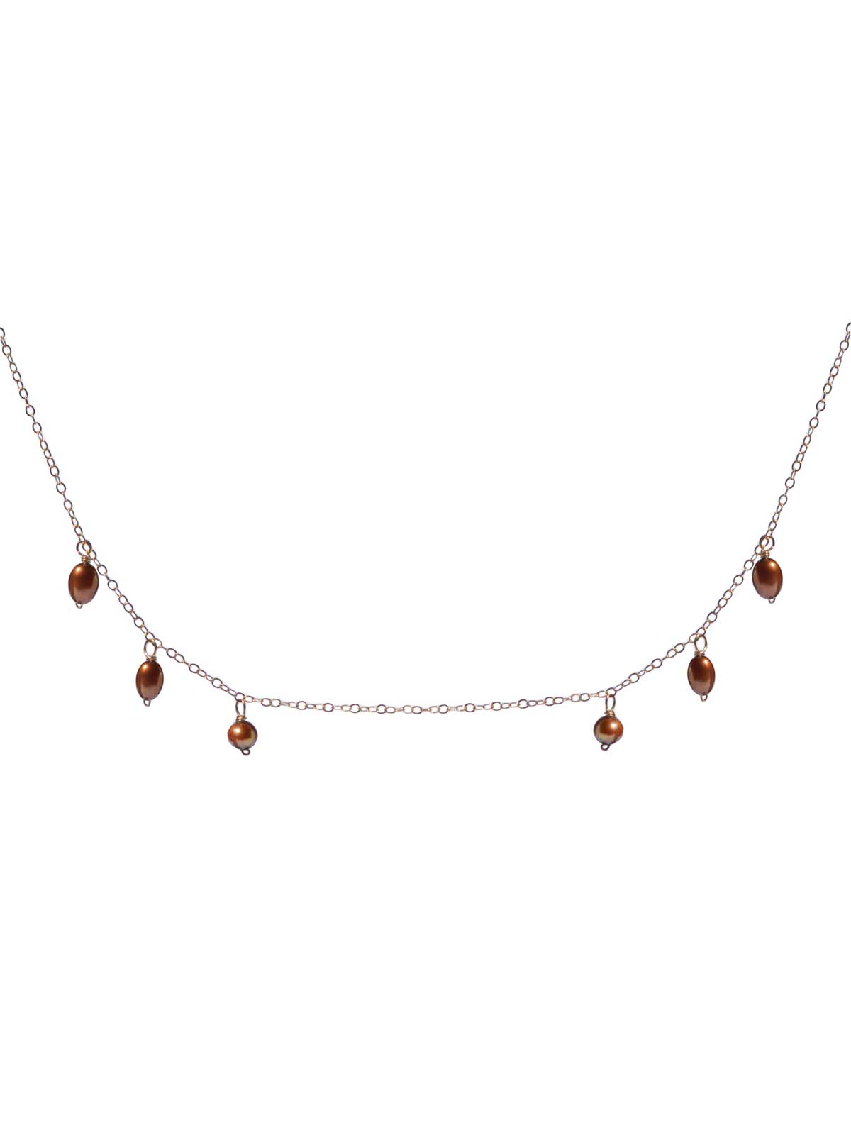 Necklace in 14K Gold-filled chain bronze Freshwater Pearls