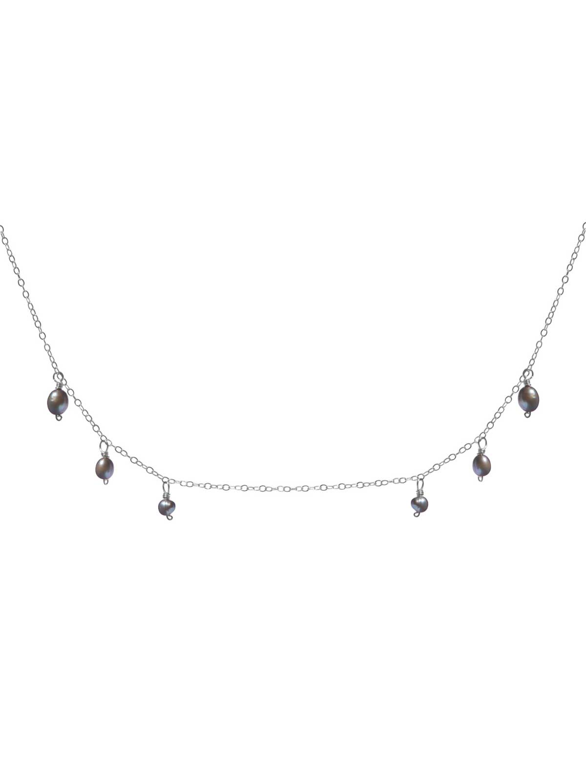 Necklace in Sterling Silver chain with gray Freshwater Pearls