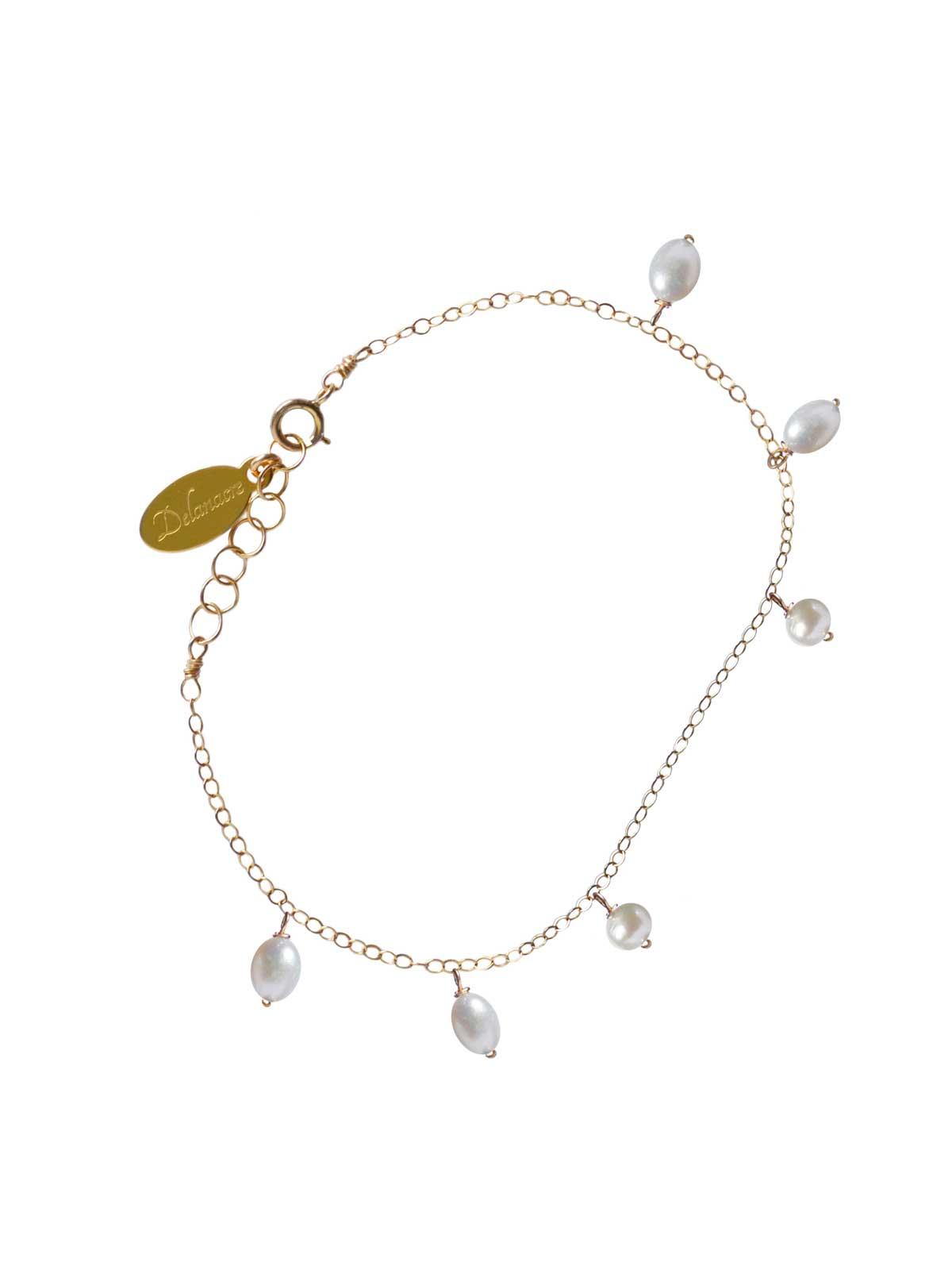 Bracelet 14K Gold-filled chain WHITE PEARL
