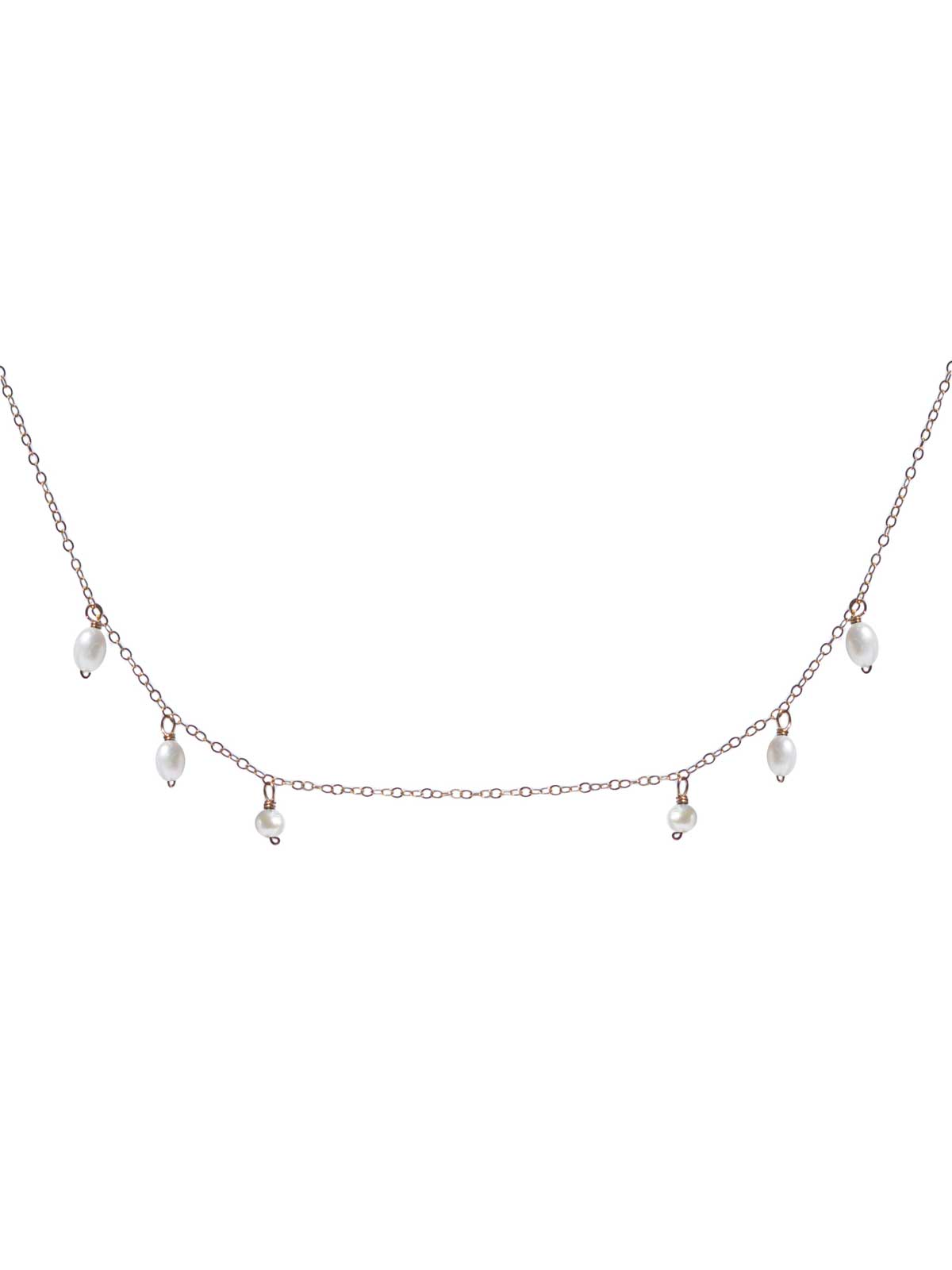 Collier chaîne en Or 14 Carats Gold-filled perles d'eau douce couleur Crème