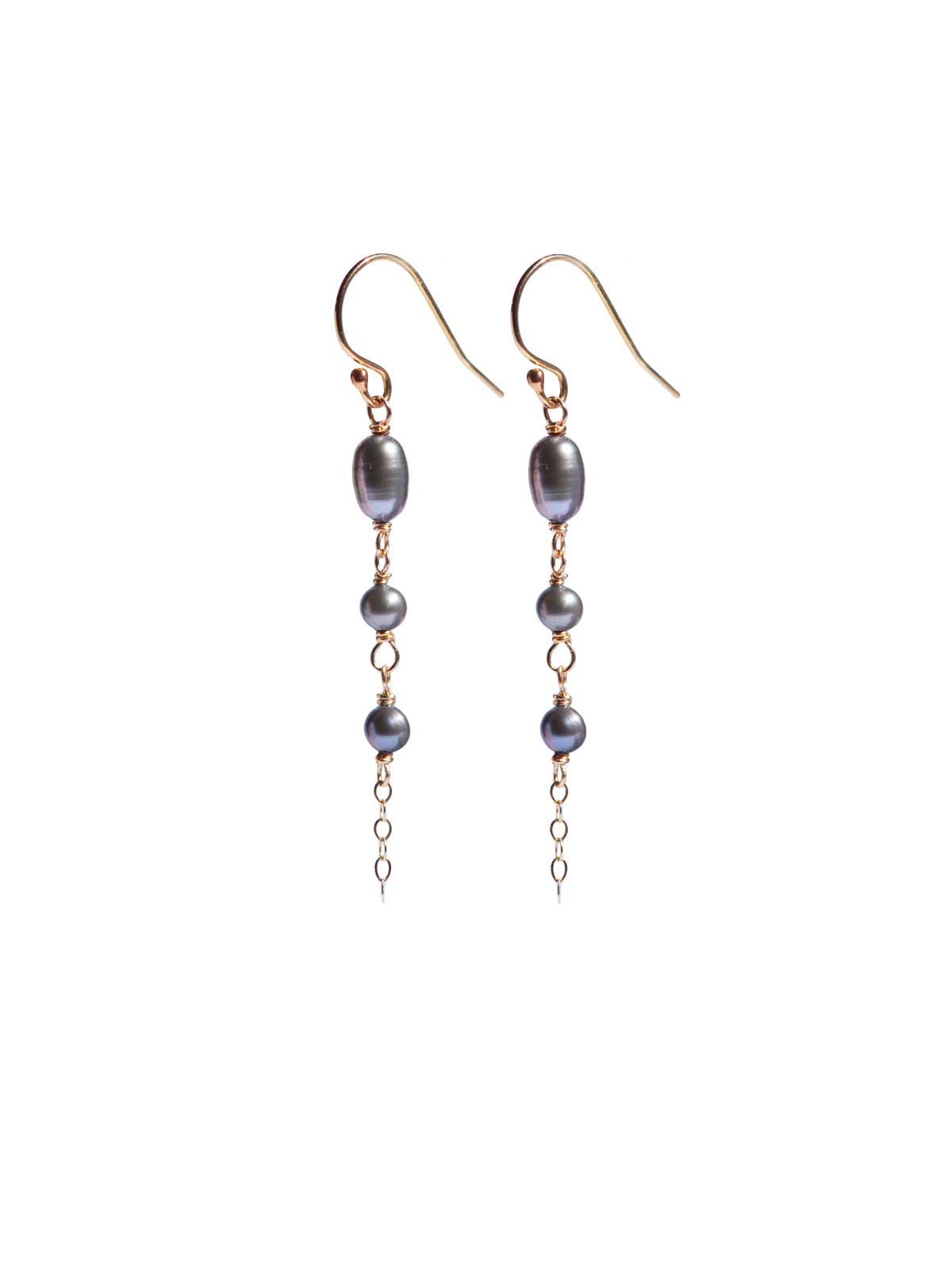 Earrings 14K Gold-filled gray Freshwater Pearls