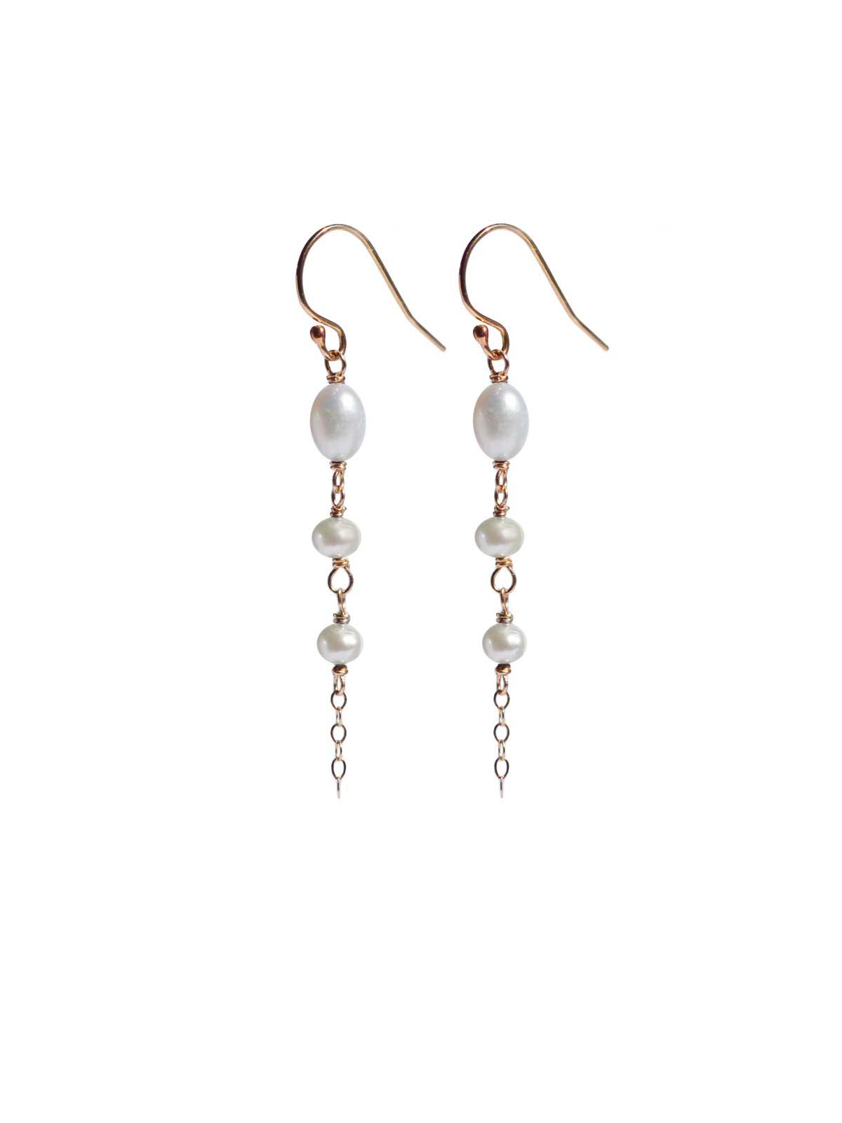 Earrings 14K Gold-filled white Freshwater Pearls