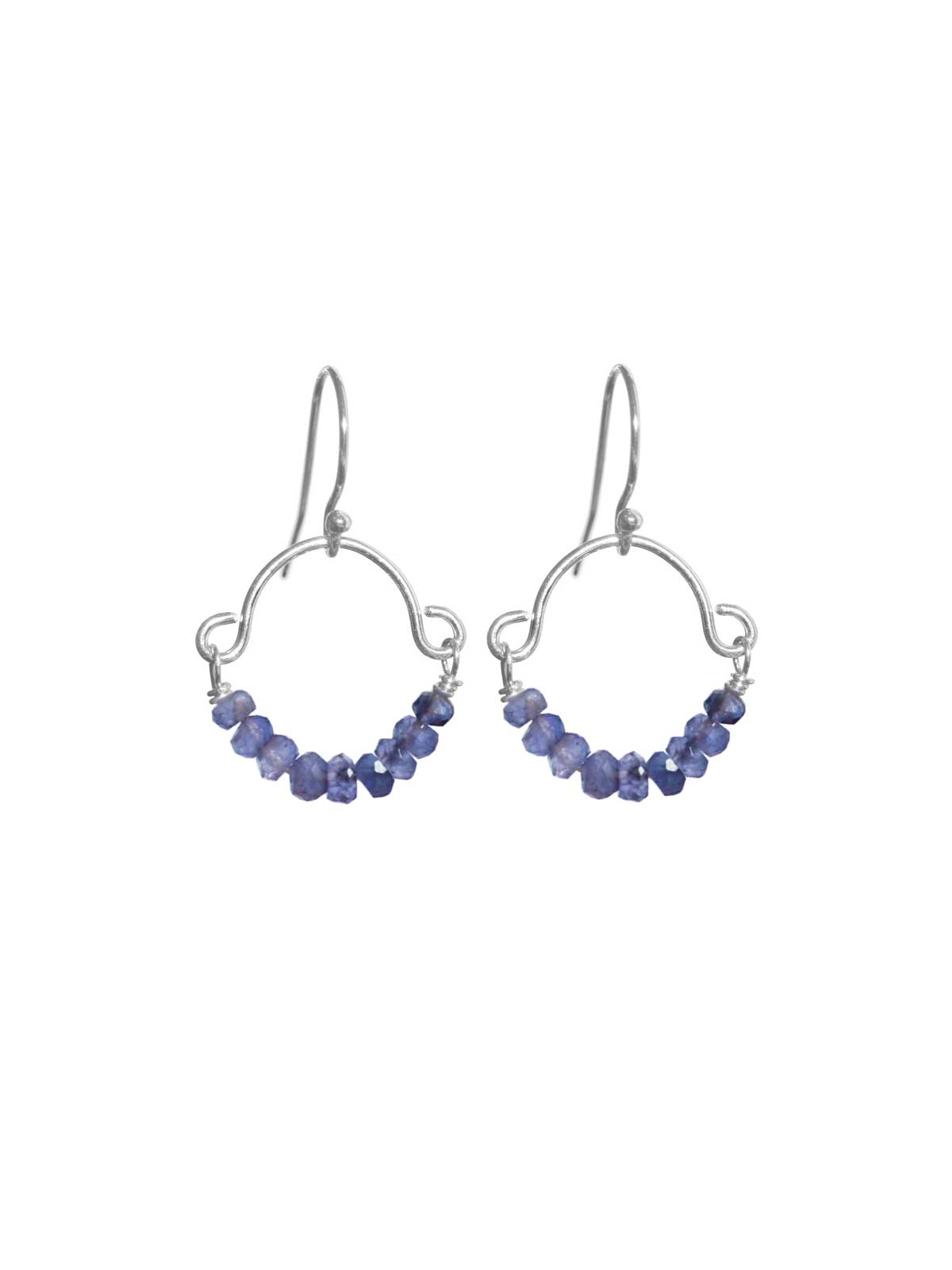 Earrings in Sterling Silver with faceted Iolite