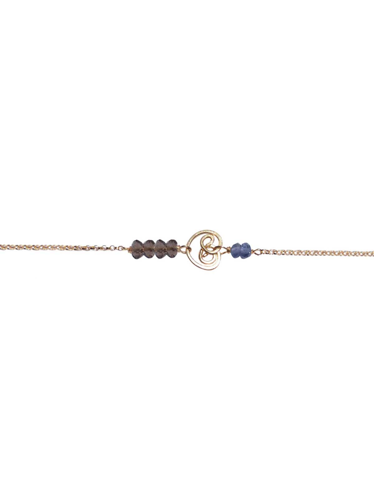 Bracelet in 14K Gold-filled chain faceted Smoky Quartz Iolite