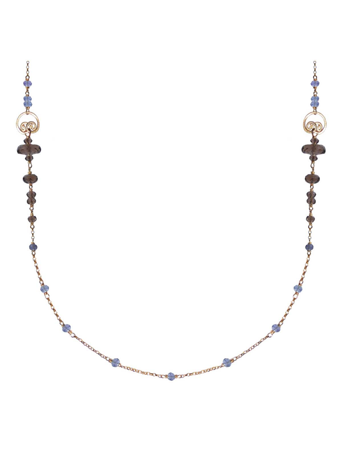 Necklace 14K Gold-filled chain and semi-precious stones : faceted Smoky Quartz Iolite