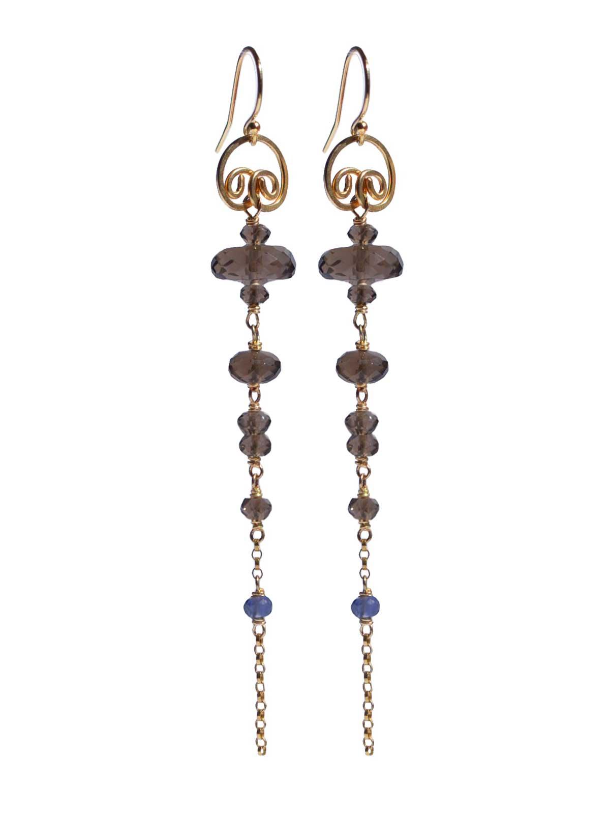 Earrings in 14K Gold-filled Smoky Quartz Iolite