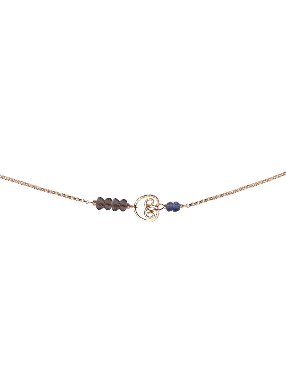 Necklace 14K Gold-filled chain and semi-precious stones faceted Smoky Quartz Iolite